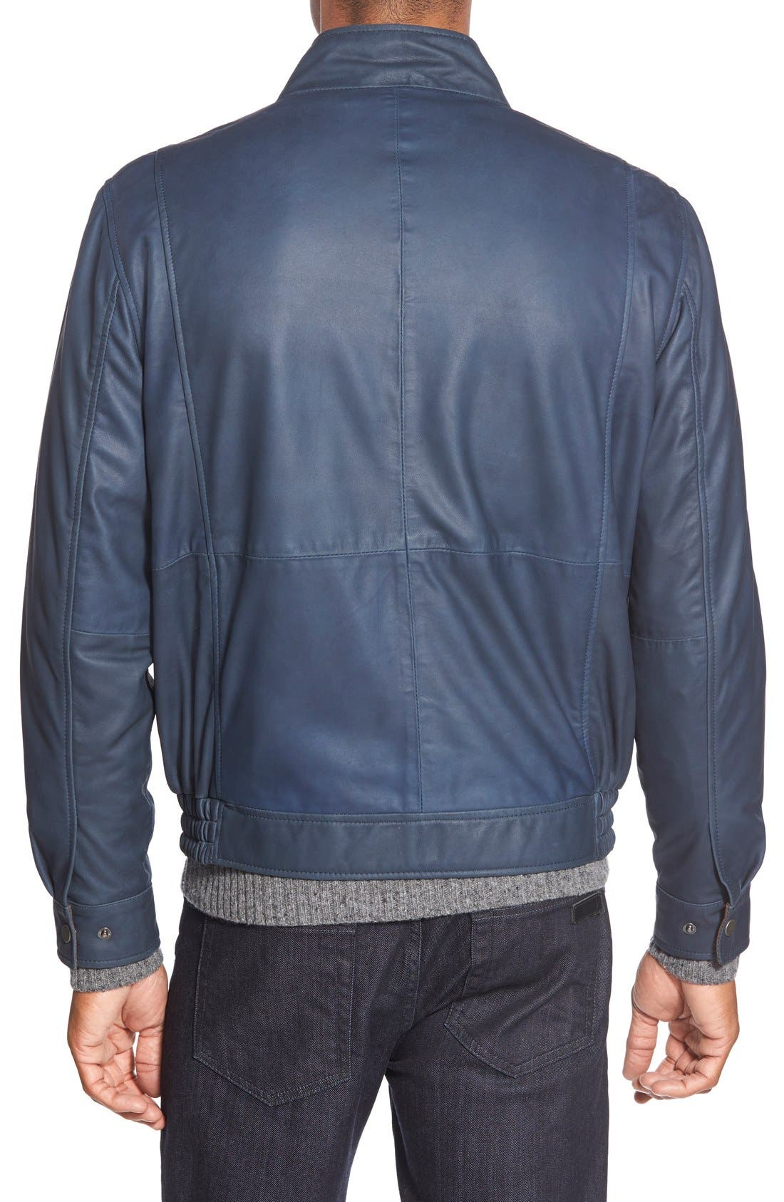 Leather Bomber Jacket,                             Alternate thumbnail 6, color,