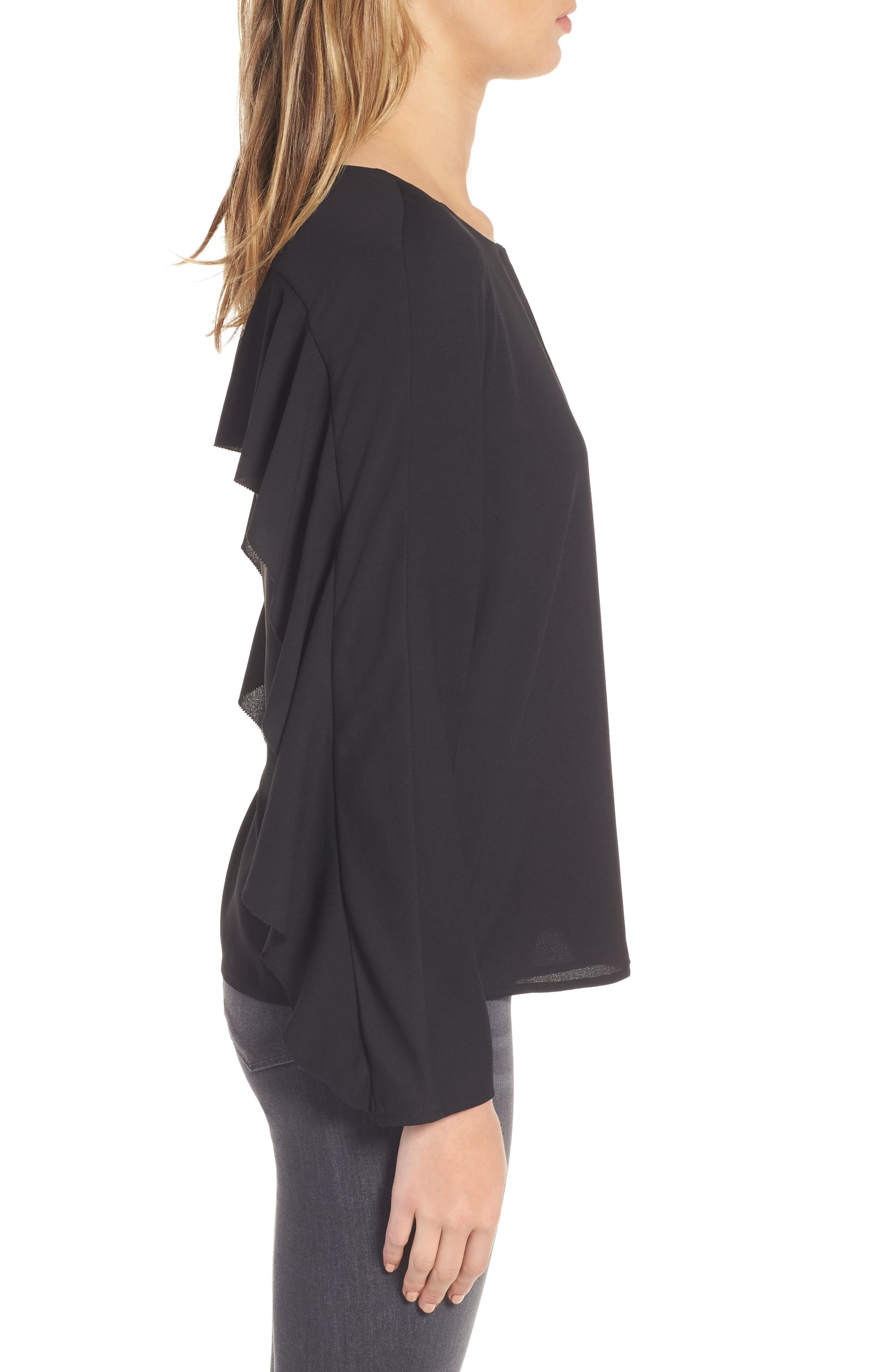 Selma Ruffle Blouse,                             Alternate thumbnail 3, color,                             001