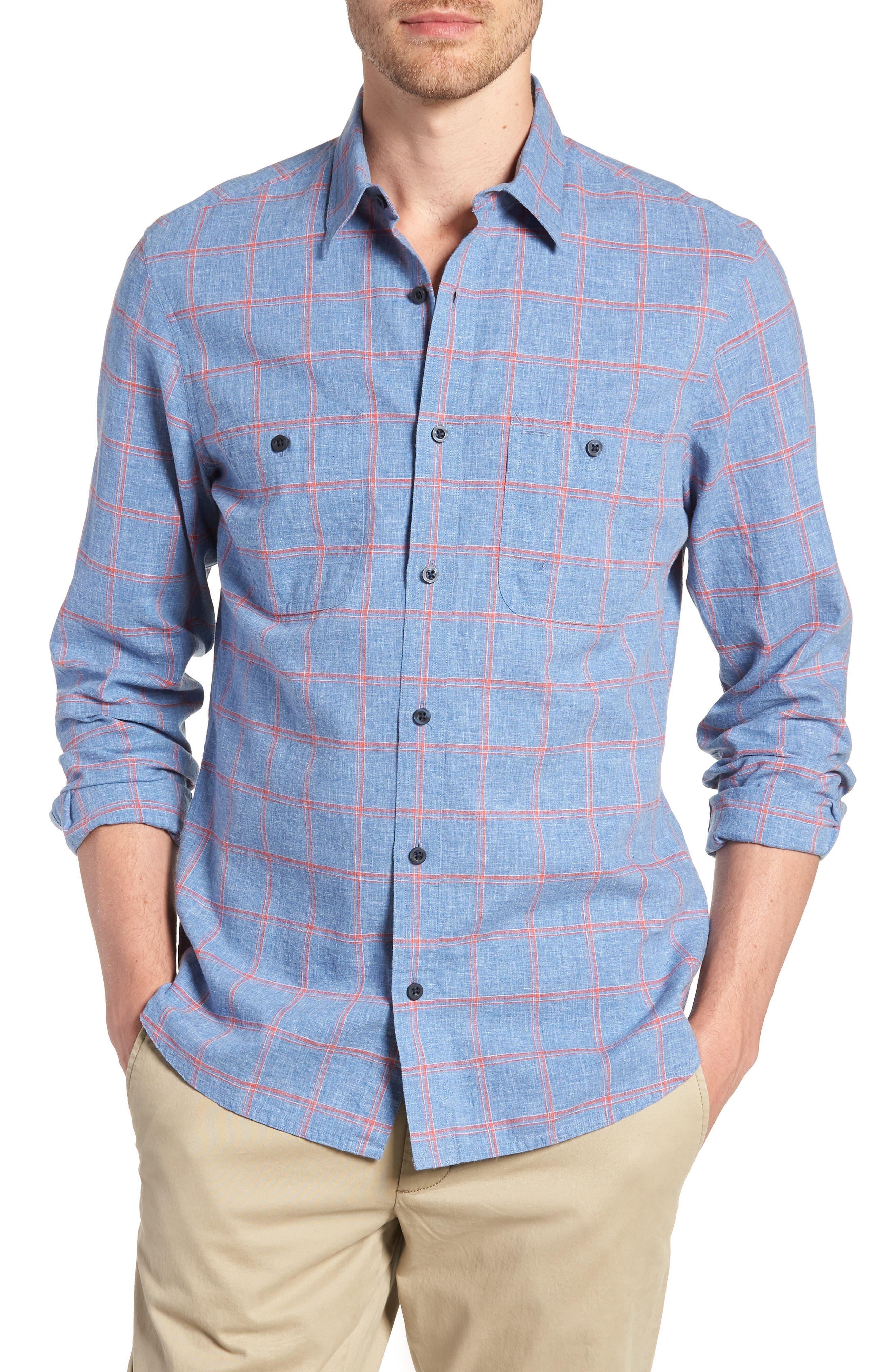 Trim Fit Windowpane Linen & Cotton Sport Shirt,                         Main,                         color, 420