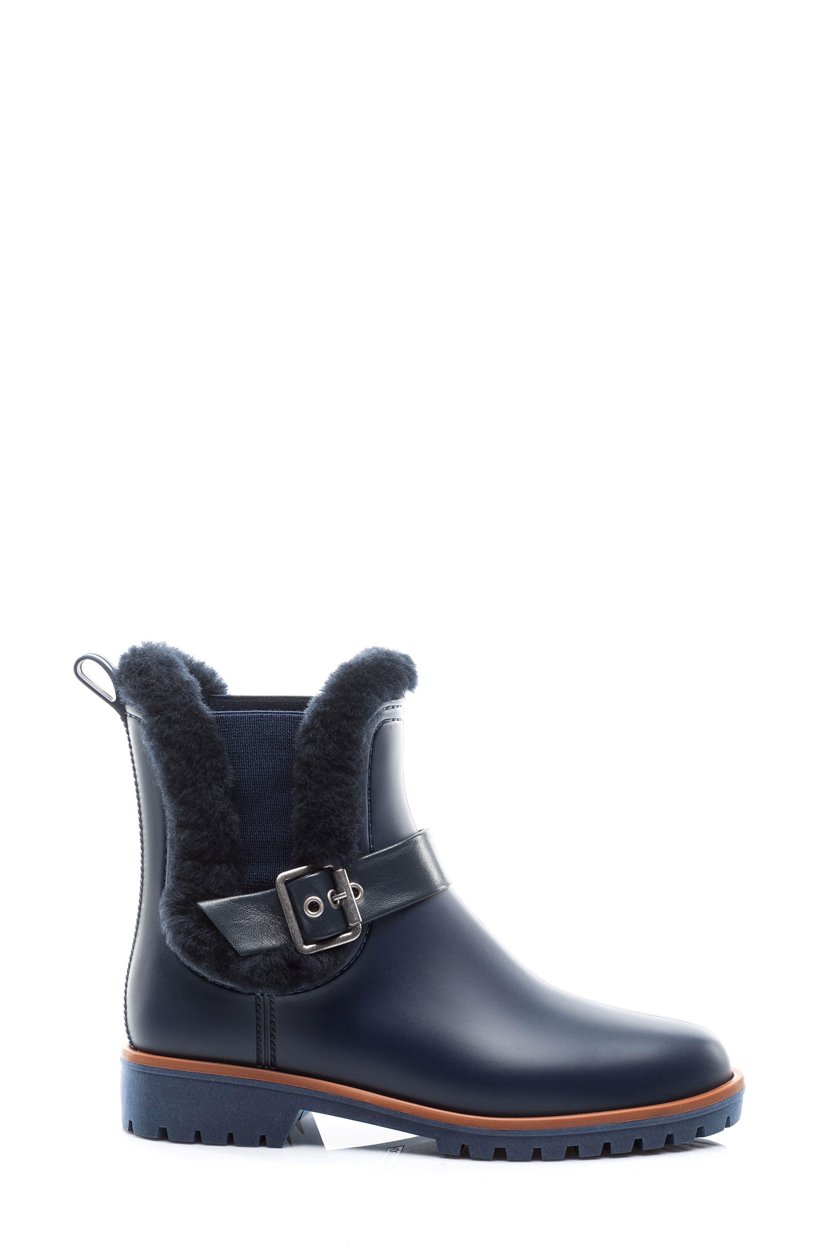 Bernardo Zain Genuine Shearling Trim Rain Boot,                             Alternate thumbnail 6, color,
