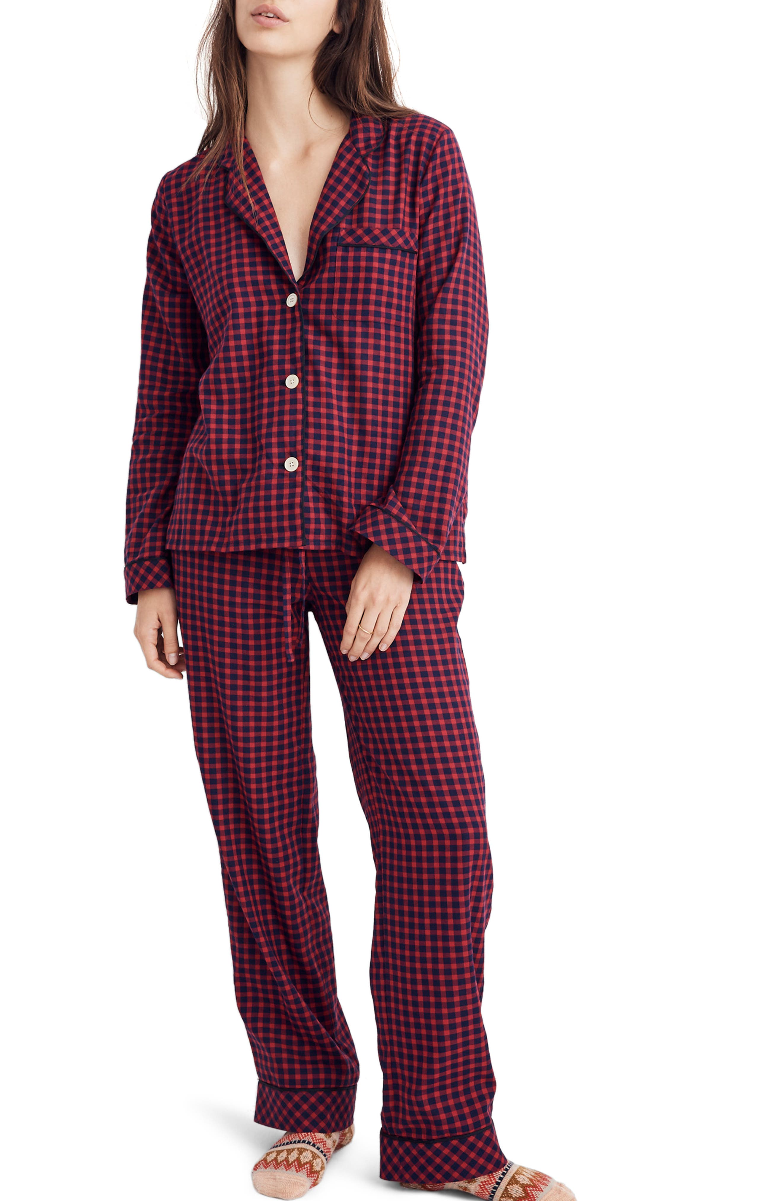 Bedtime Long Sleeve Pajama Top, Main, color, CRANBERRY