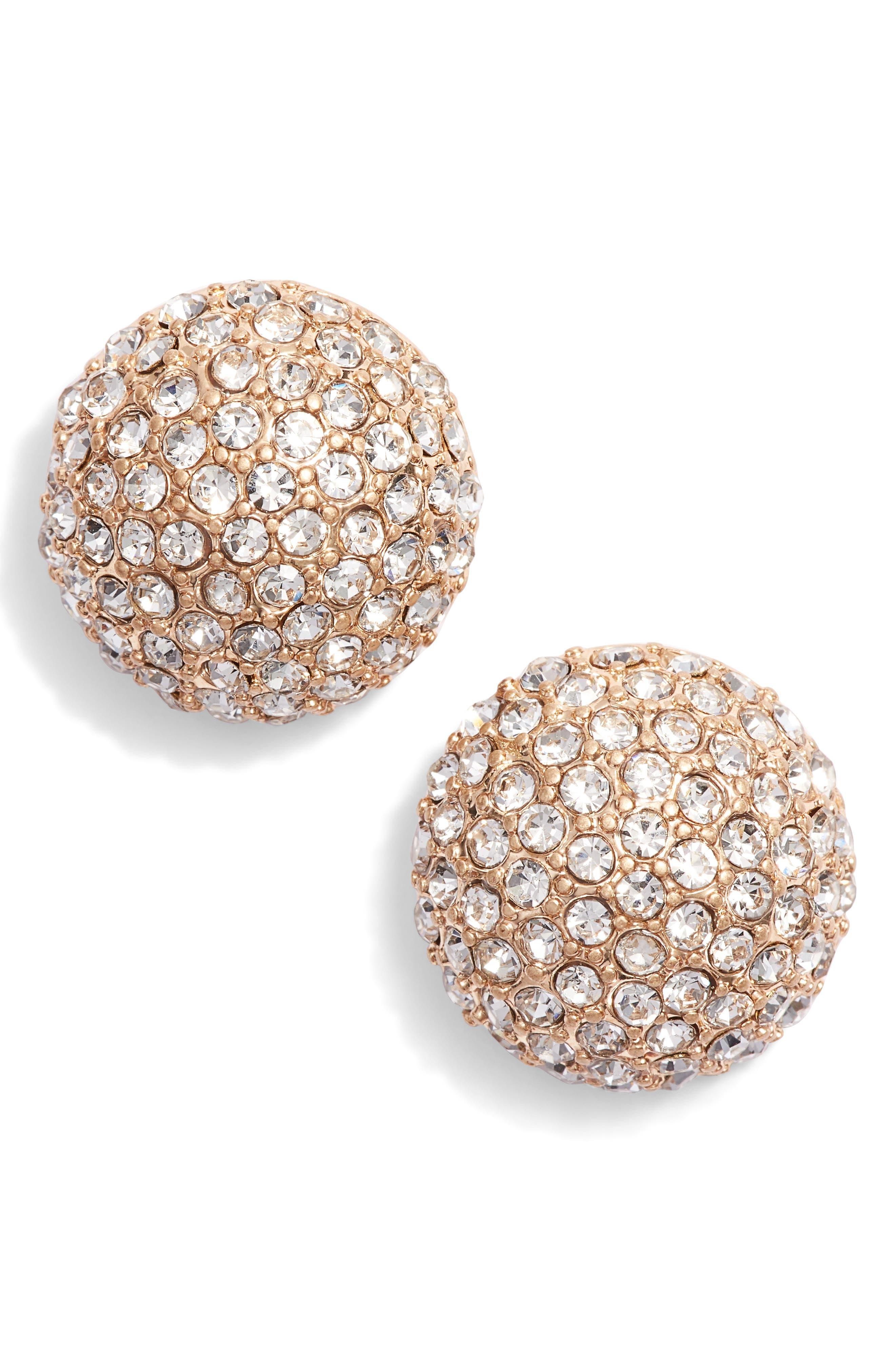 Pavé Stud Earrings,                         Main,                         color, CLEAR- GOLD