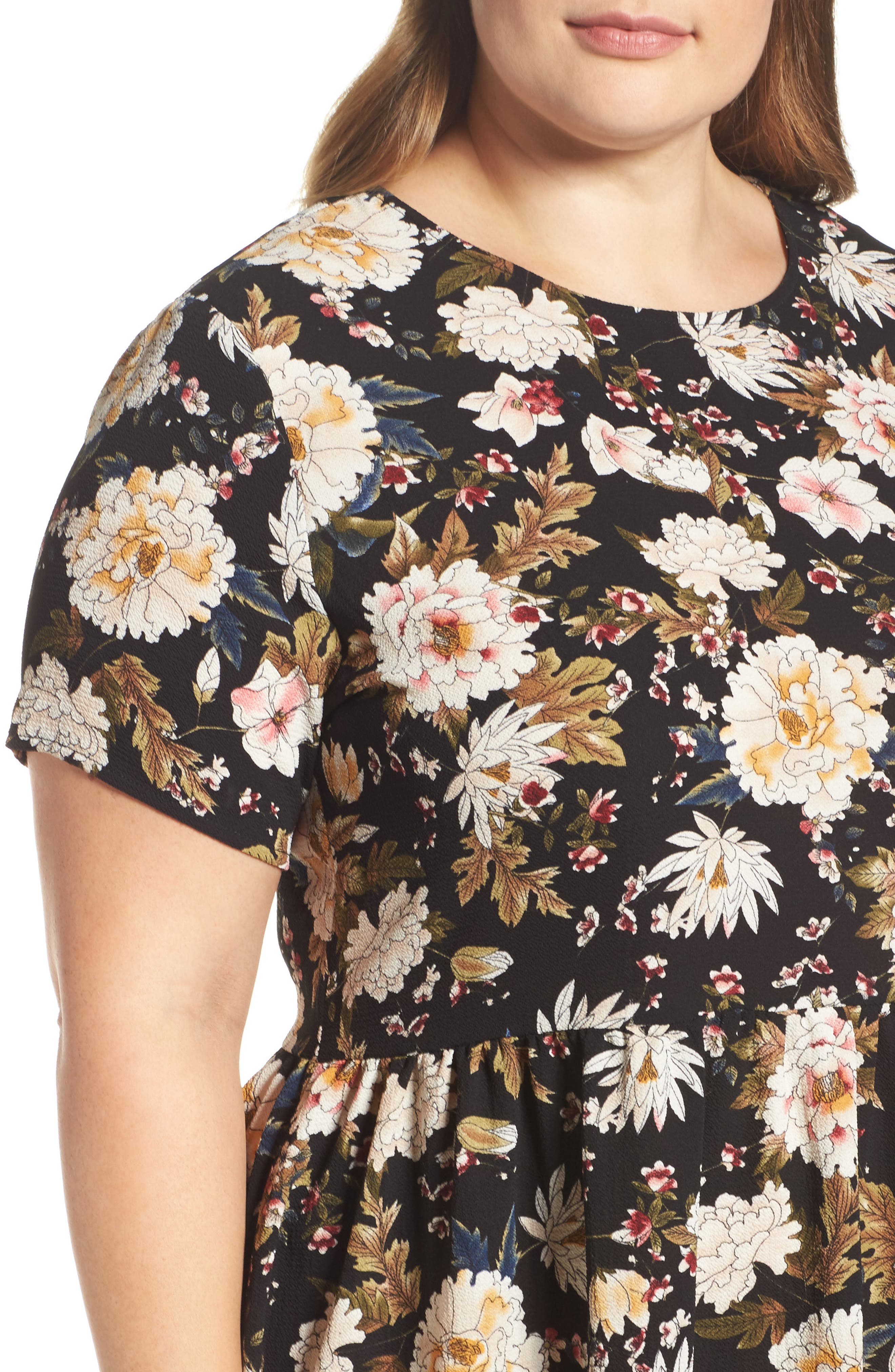 Empire Waist Floral Print Dress,                             Alternate thumbnail 4, color,                             009