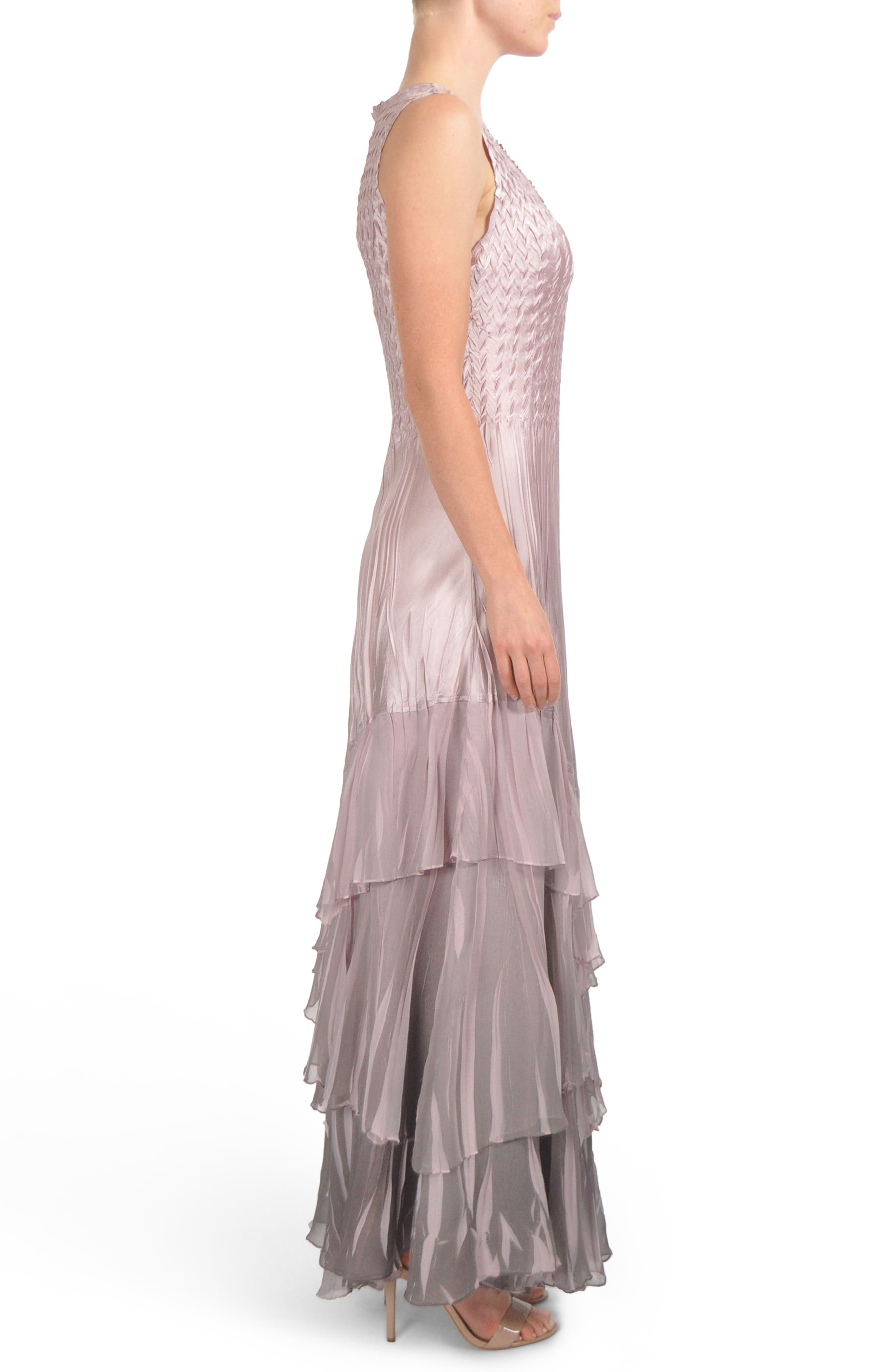 Beaded Charmeuse & Chiffon Gown with Wrap,                             Alternate thumbnail 3, color,                             020