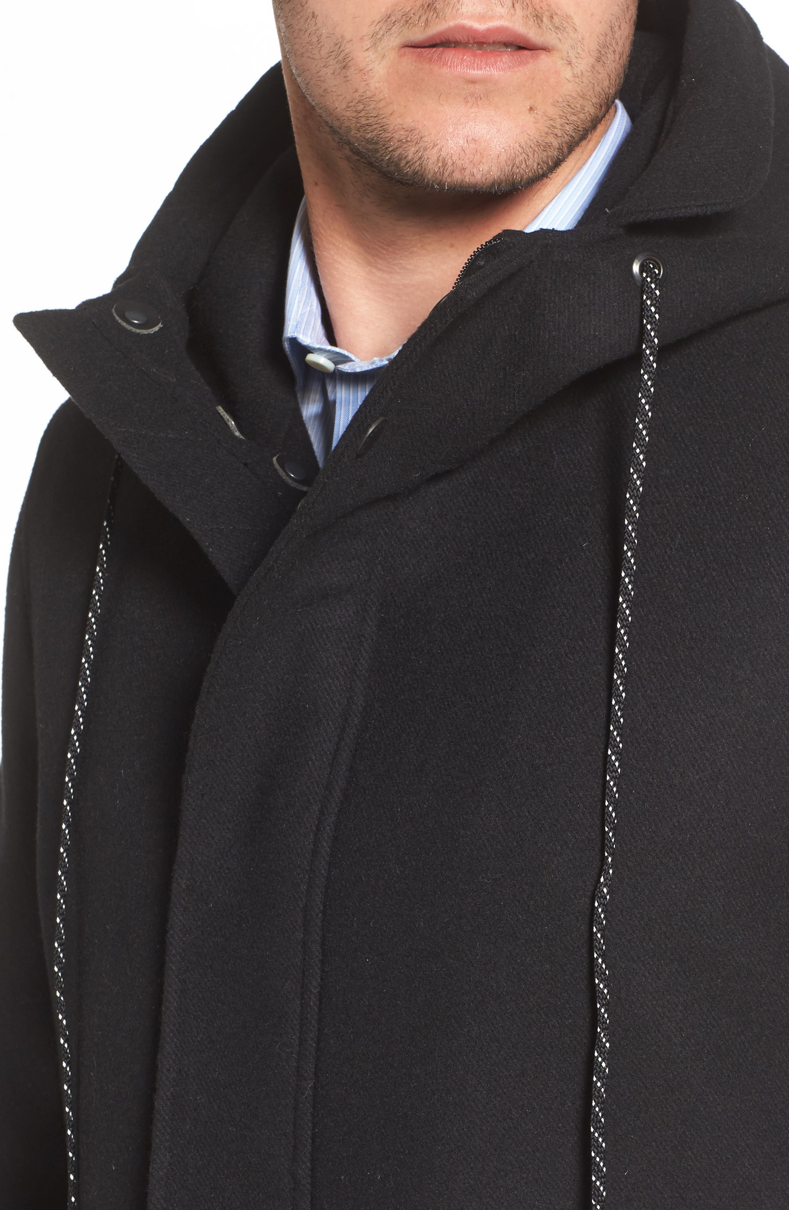 Water Repellent Hooded Wool Jacket,                             Alternate thumbnail 4, color,                             001