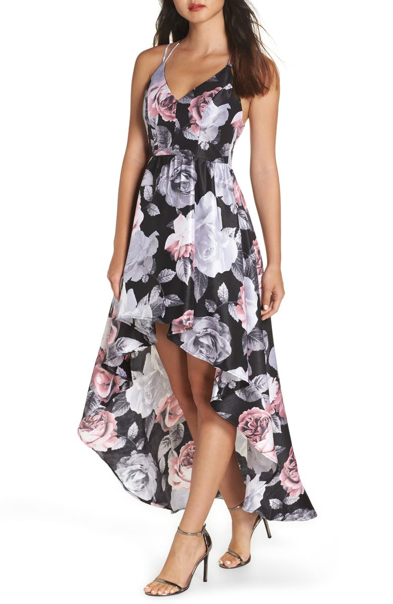 Sequin Hearts Floral Print Shantung High/Low Gown | Nordstrom