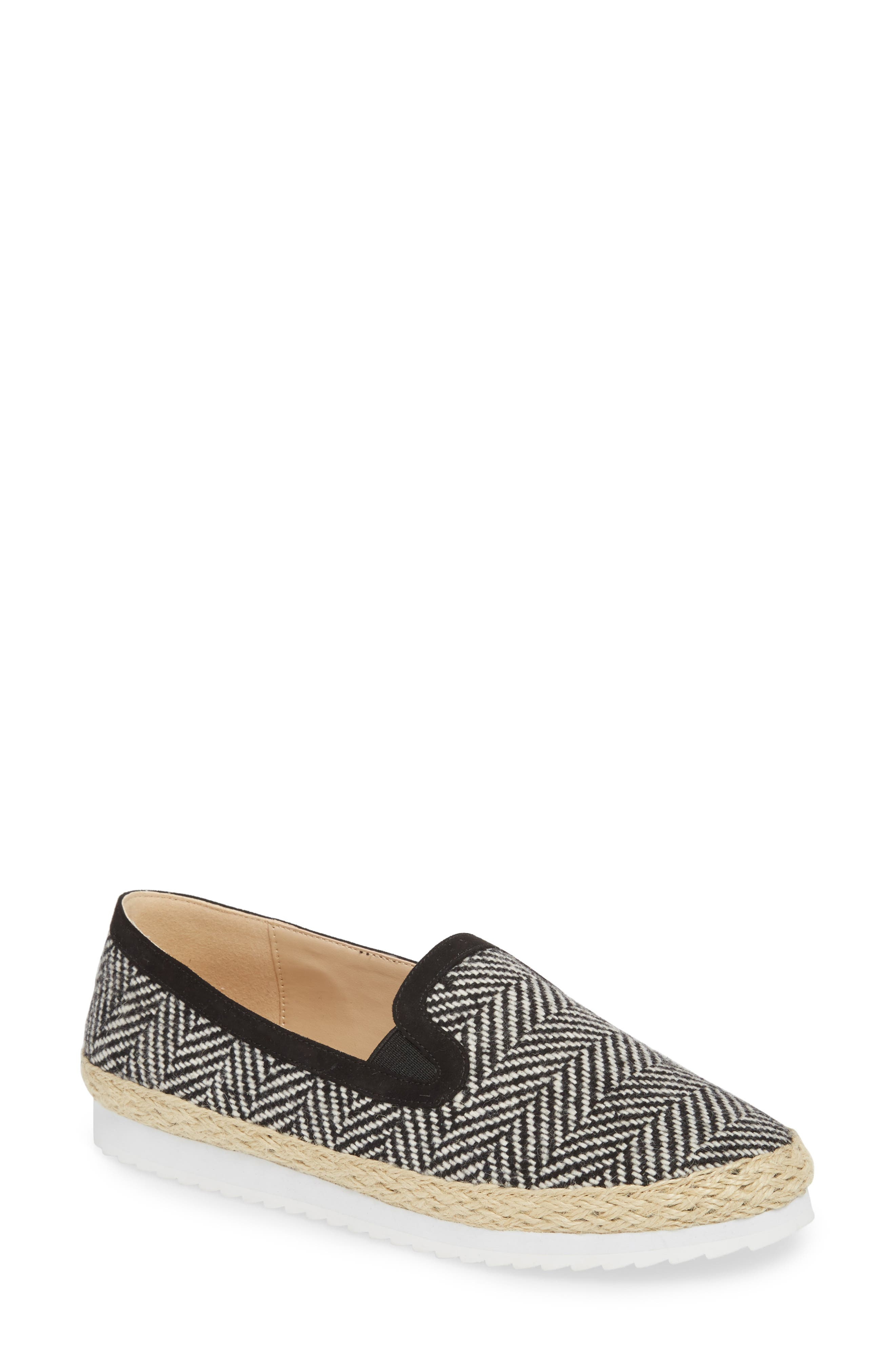 Tight Line Espadrille Flat,                             Main thumbnail 1, color,                             BLACK HOUNDSTOOTH FABRIC