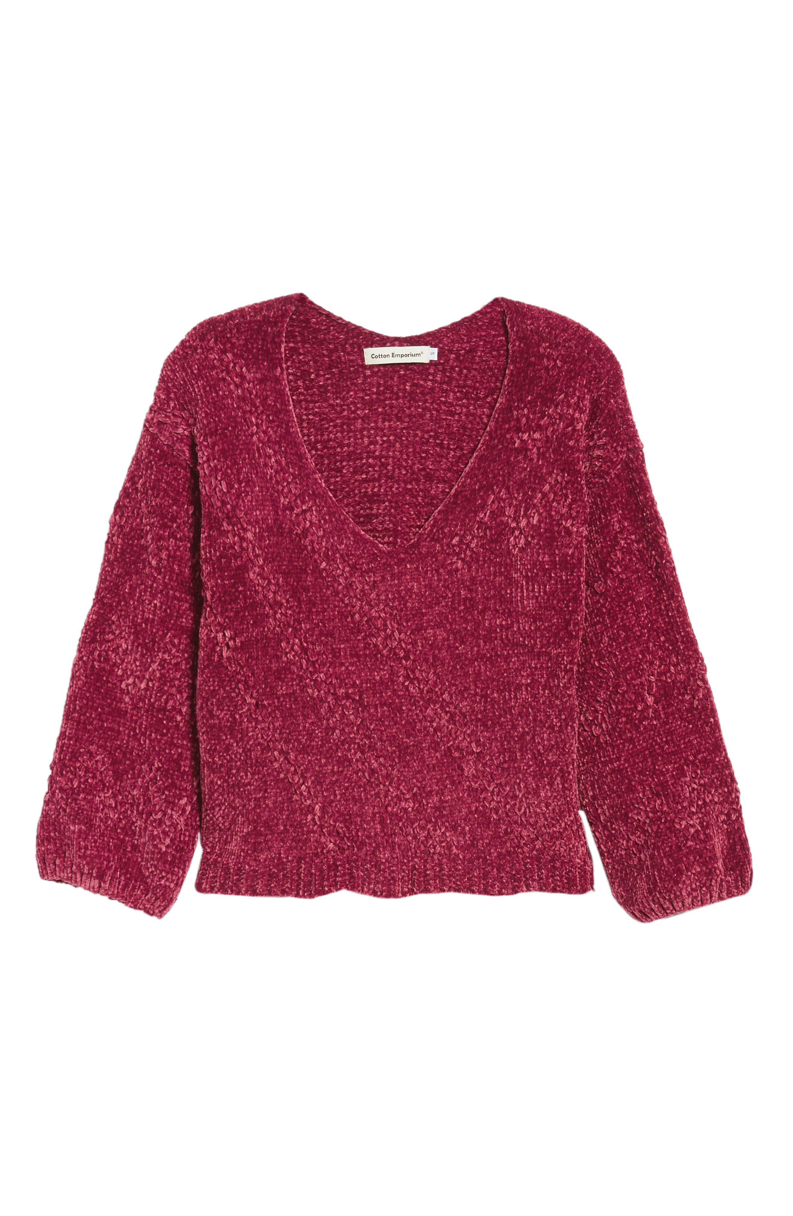 Chenille Plunging Sweater,                             Alternate thumbnail 6, color,                             500