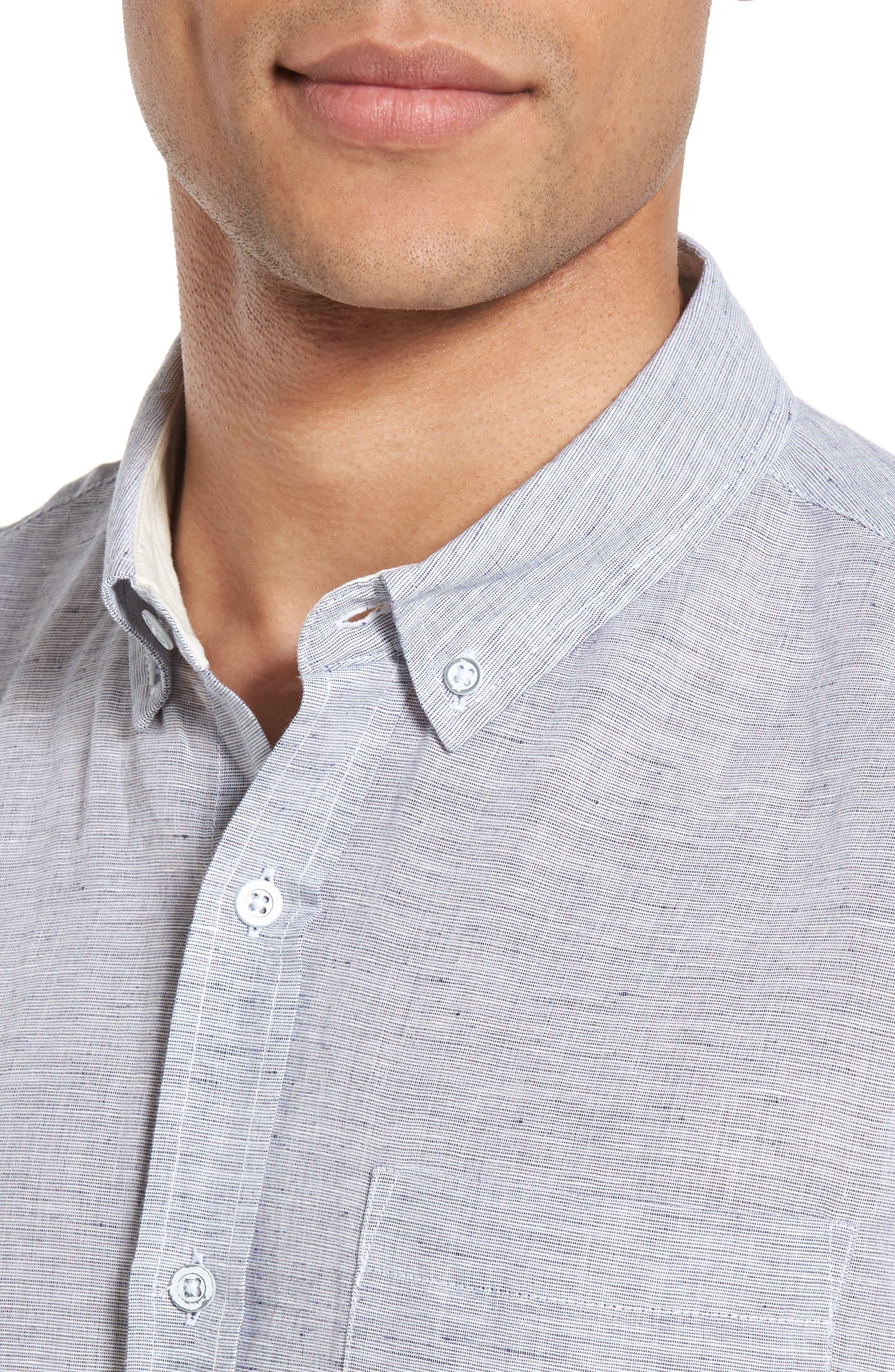 Nash Slim Fit Linen & Cotton Sport Shirt,                             Alternate thumbnail 4, color,                             020