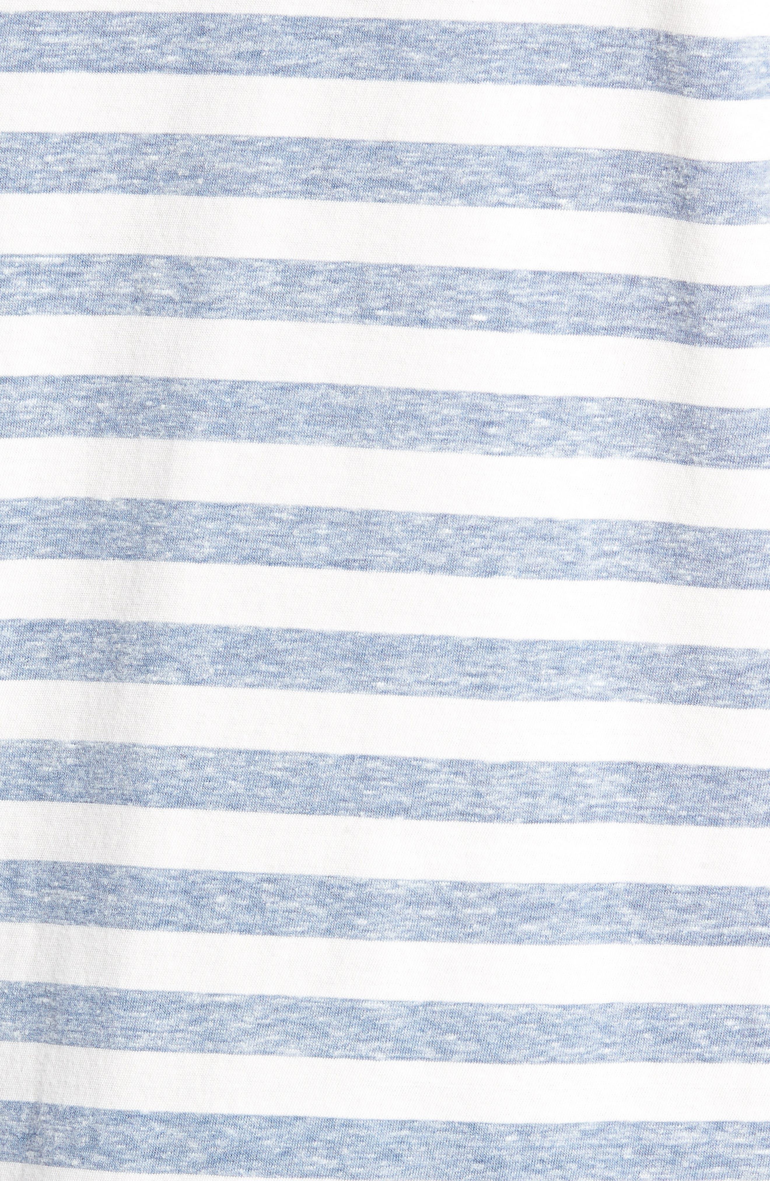 Stripe Crewneck T-Shirt,                             Alternate thumbnail 5, color,                             BLUE CHAMBRAY- WHITE STRIPE