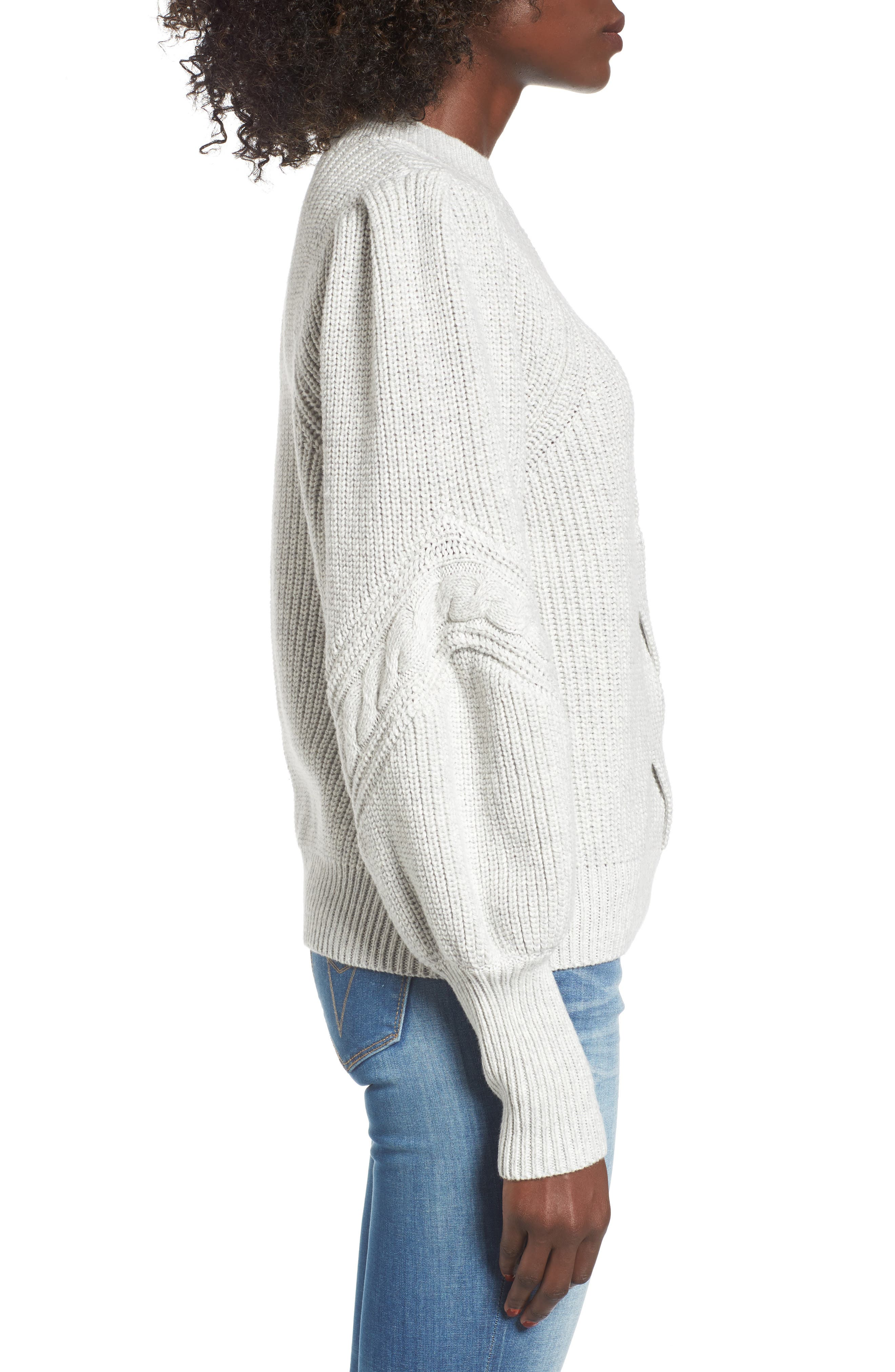 Cable Knit Puff Sleeve Sweater,                             Alternate thumbnail 3, color,                             050