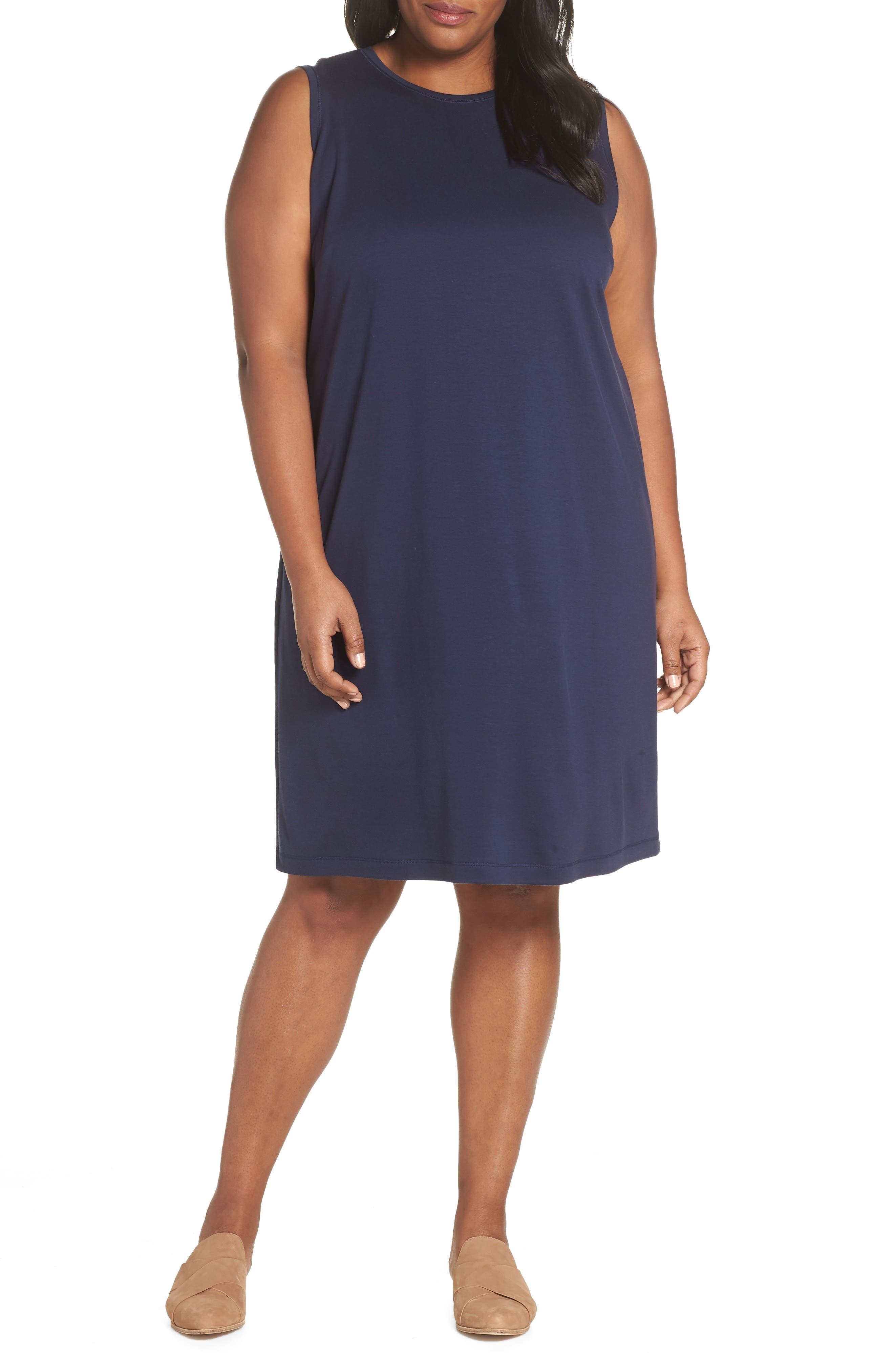Plus Size Eileen Fisher Knit Shift Dress, Blue
