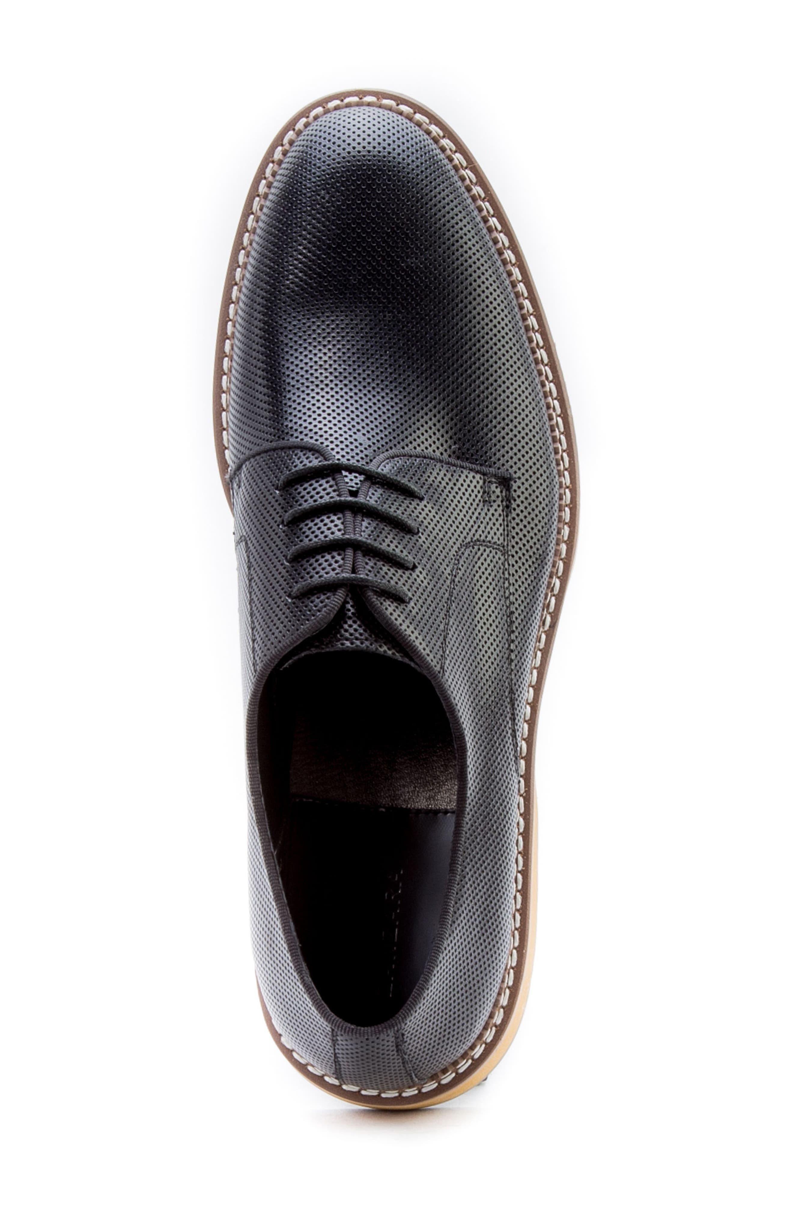 Monticello Perforated Plain Toe Derby,                             Alternate thumbnail 5, color,                             BLACK LEATHER