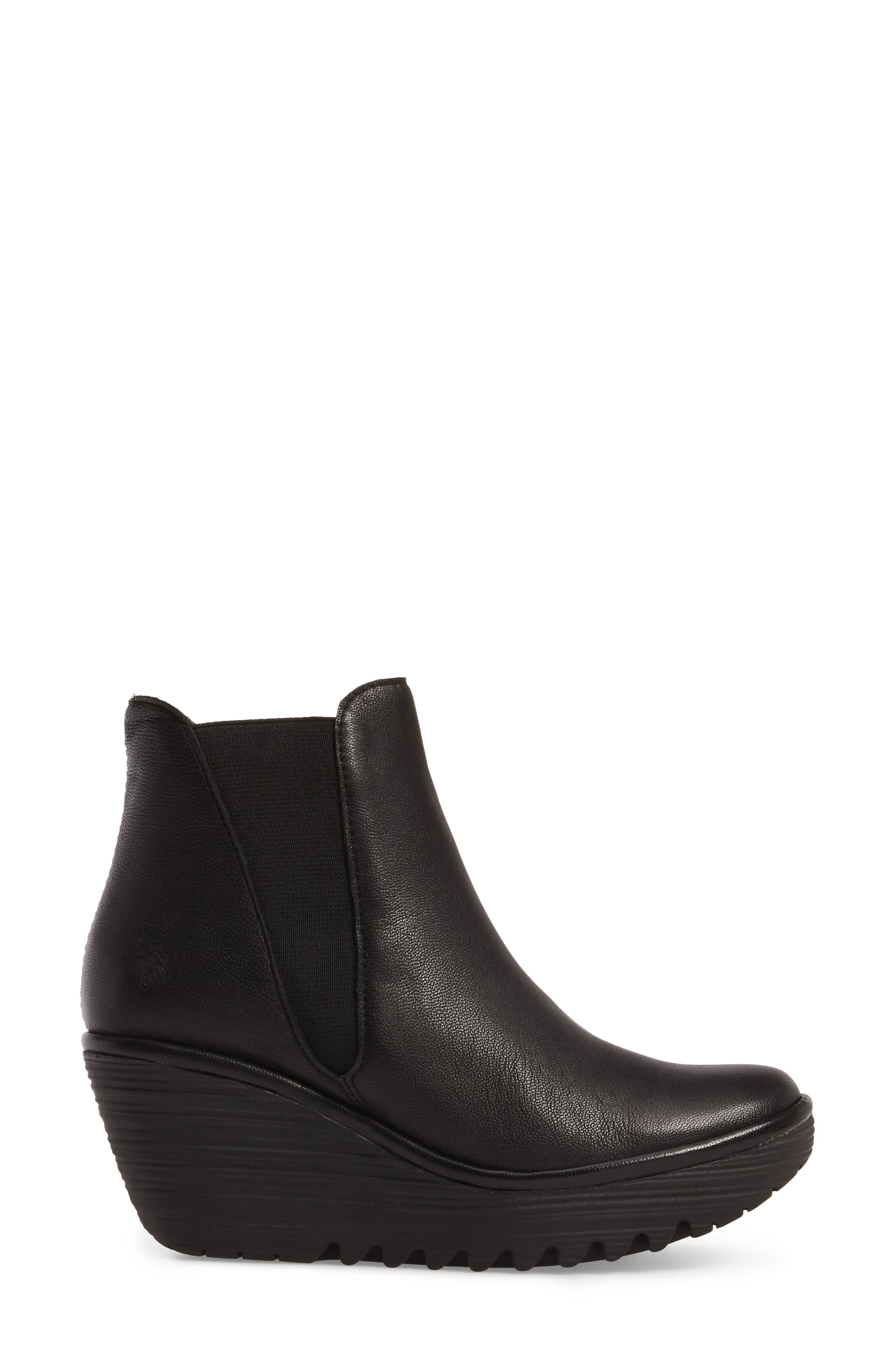 Yoss Wedge Bootie,                             Alternate thumbnail 3, color,                             001