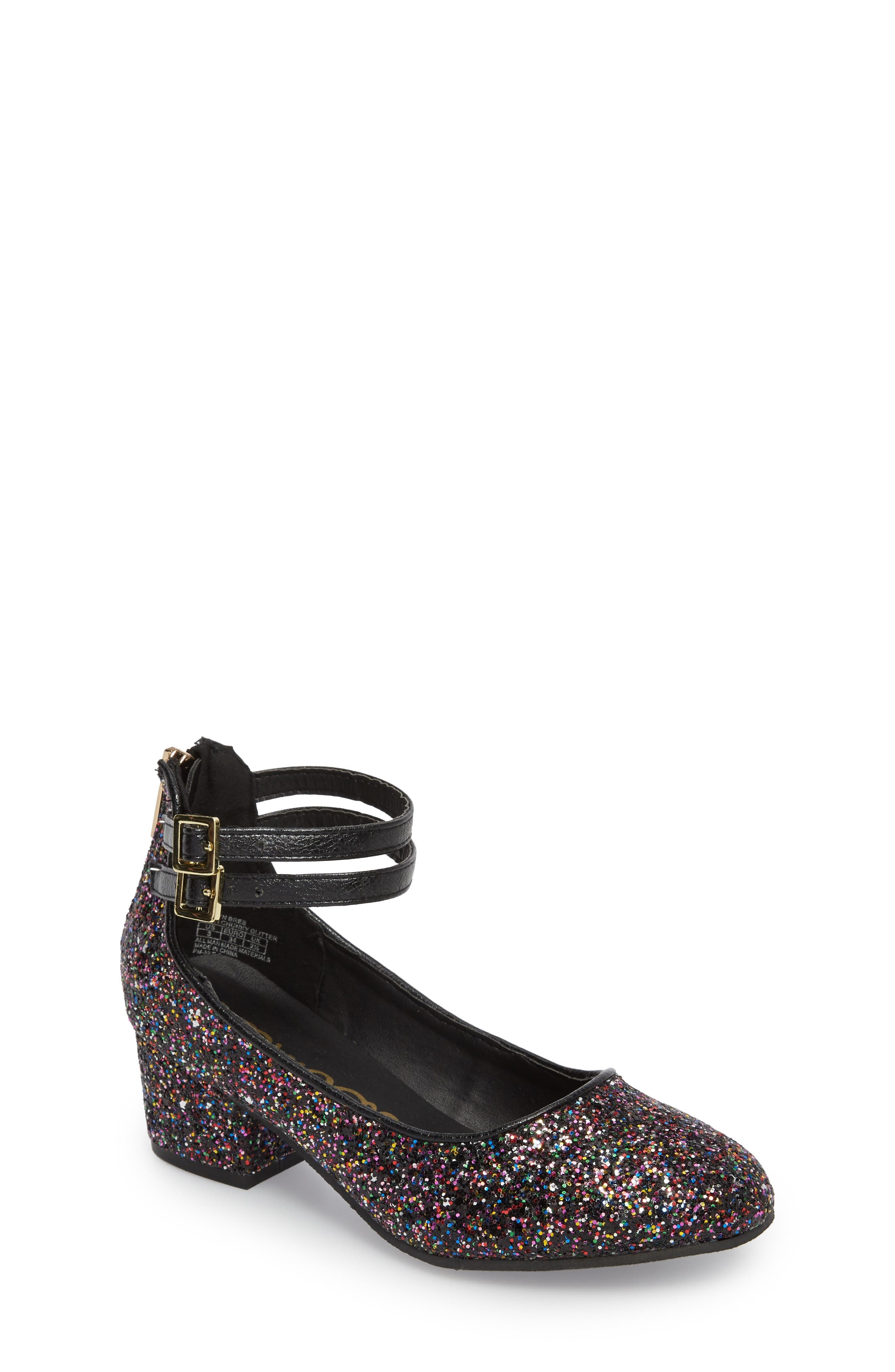 Evelyn Bree Ankle Strap Glitter Pump,                             Main thumbnail 1, color,                             001