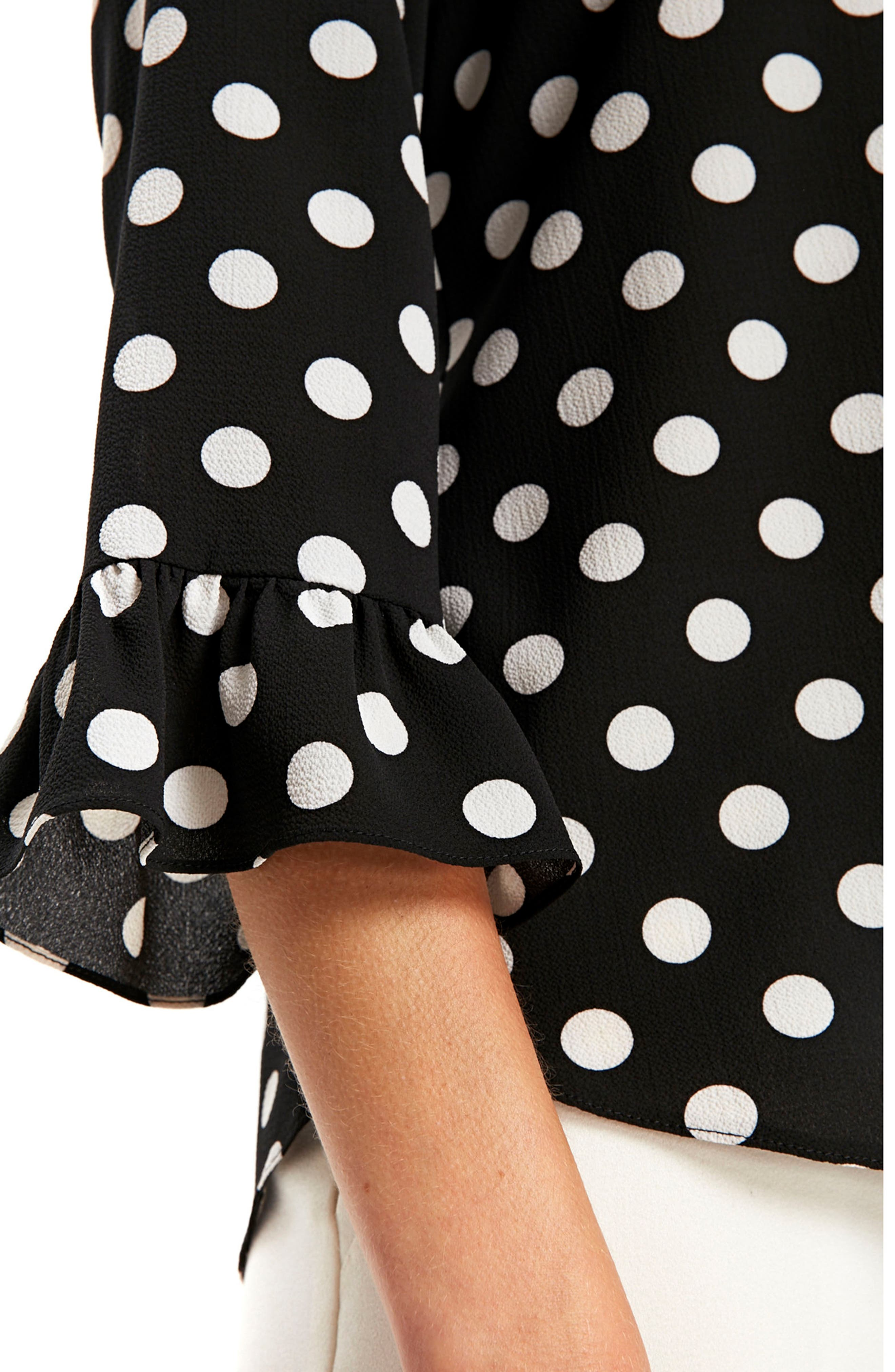 Flute Sleeve Polka Dot Top,                             Alternate thumbnail 3, color,                             001