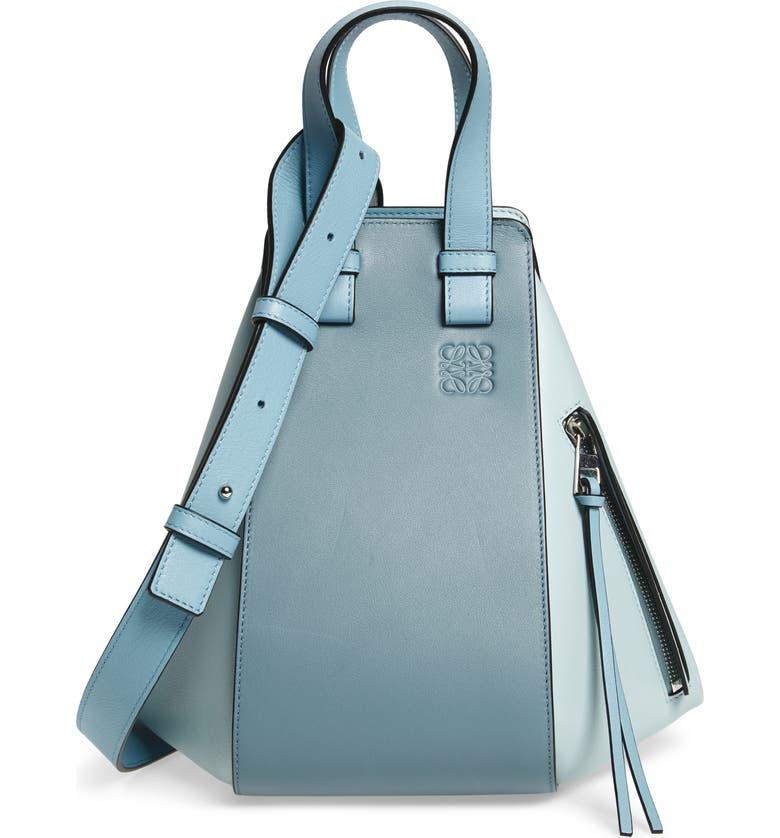 Loewe Leathers SMALL HAMMOCK BICOLOR LEATHER HOBO - BLUE