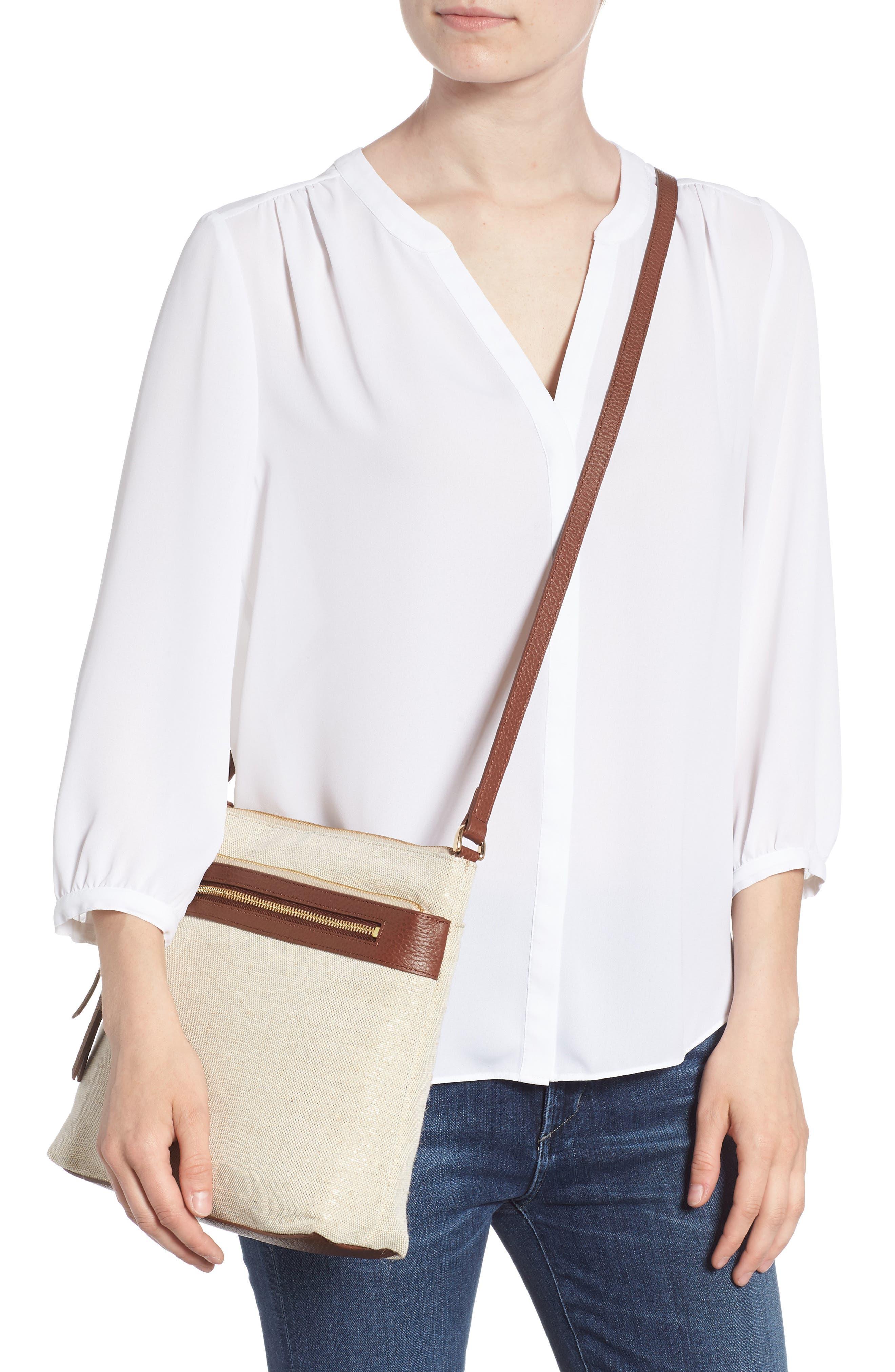 Kaison Linen & Leather Crossbody Bag,                             Alternate thumbnail 2, color,                             NATURAL/ GOLD