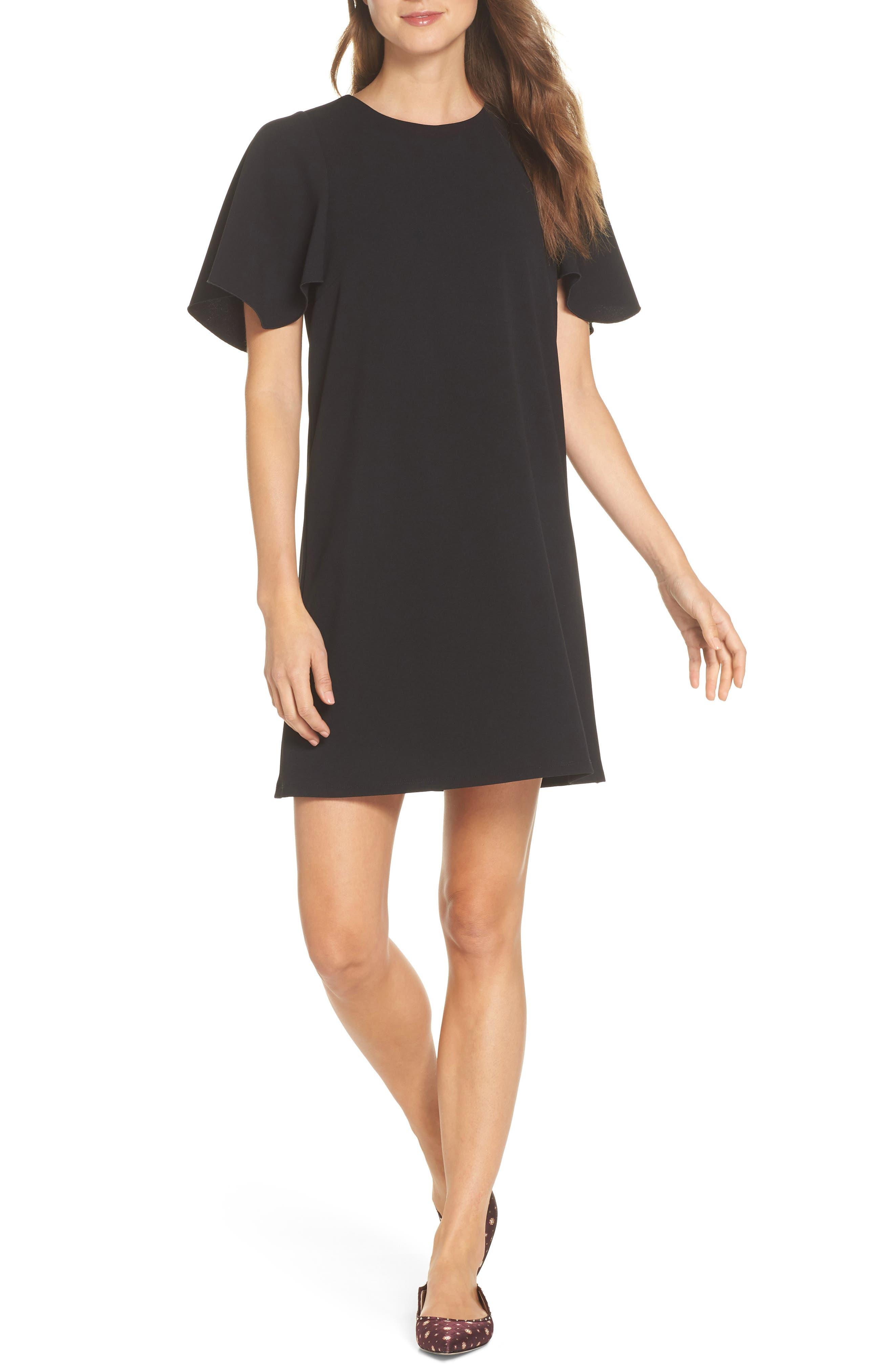 Flutter Sleeve Crepe Shift Dress,                         Main,                         color, 001