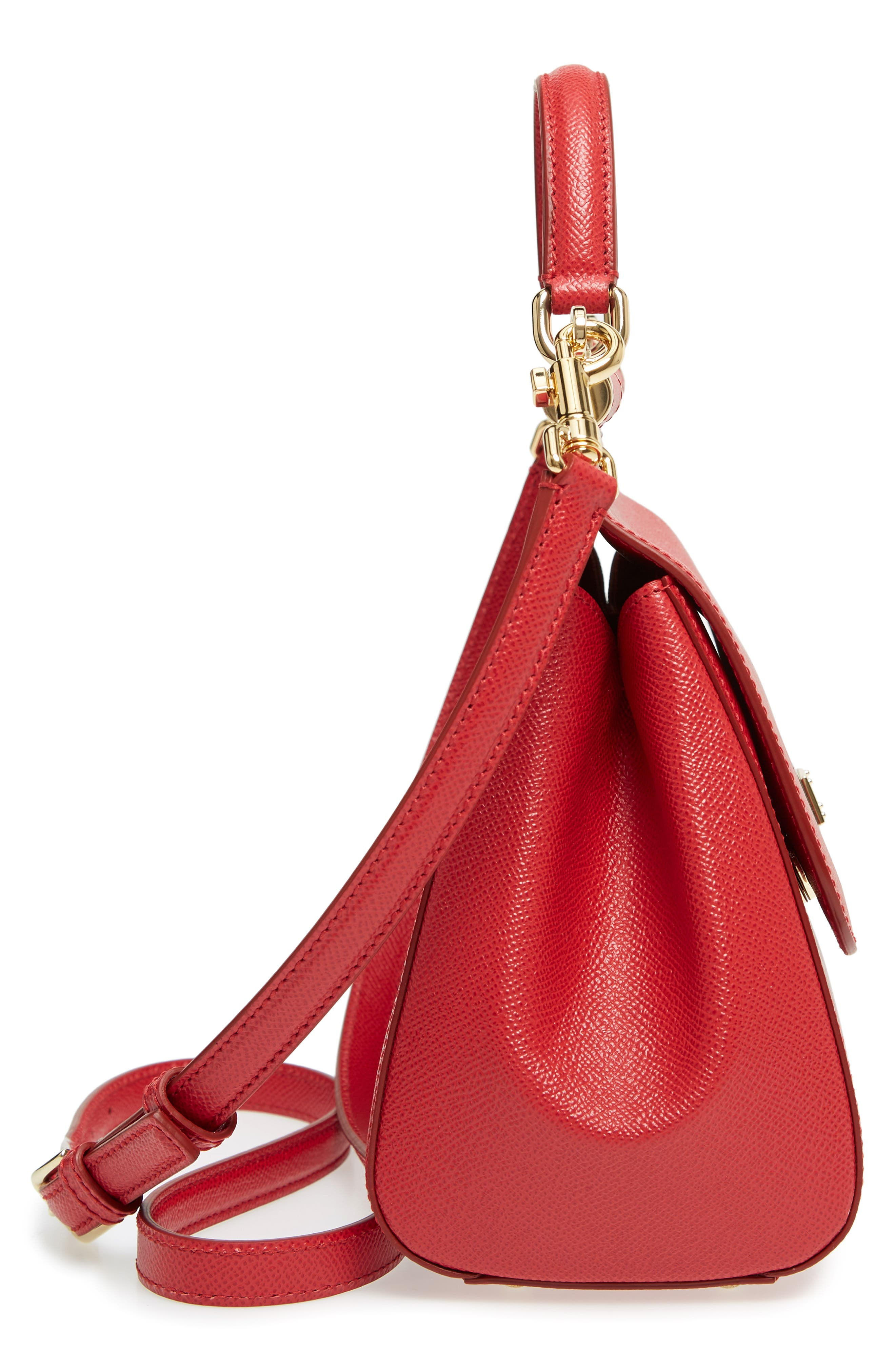 'Small Miss Sicily' Leather Satchel,                             Alternate thumbnail 5, color,                             RED