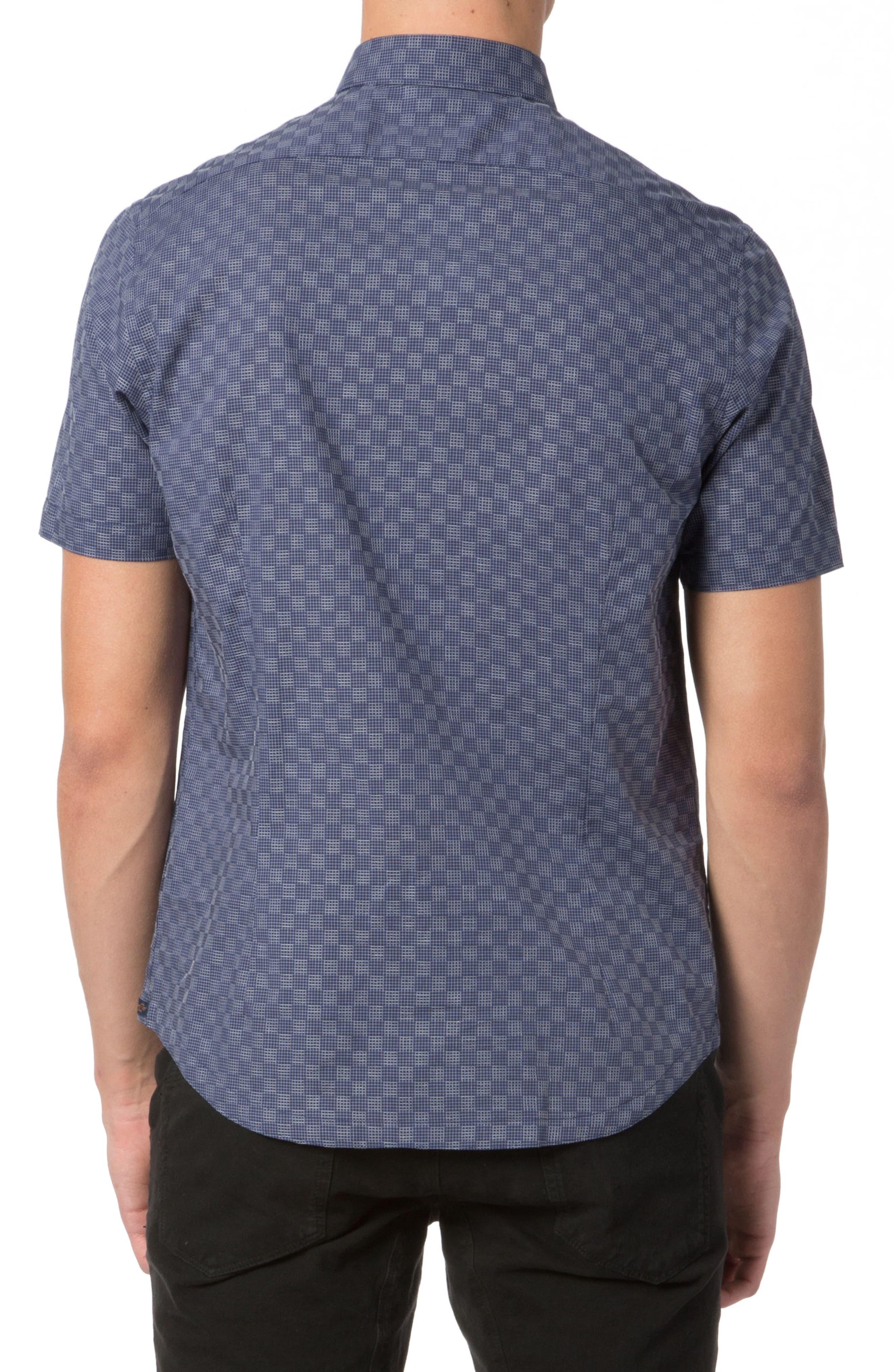 Trim Fit Graph Print Sport Shirt,                             Alternate thumbnail 2, color,                             NAVY