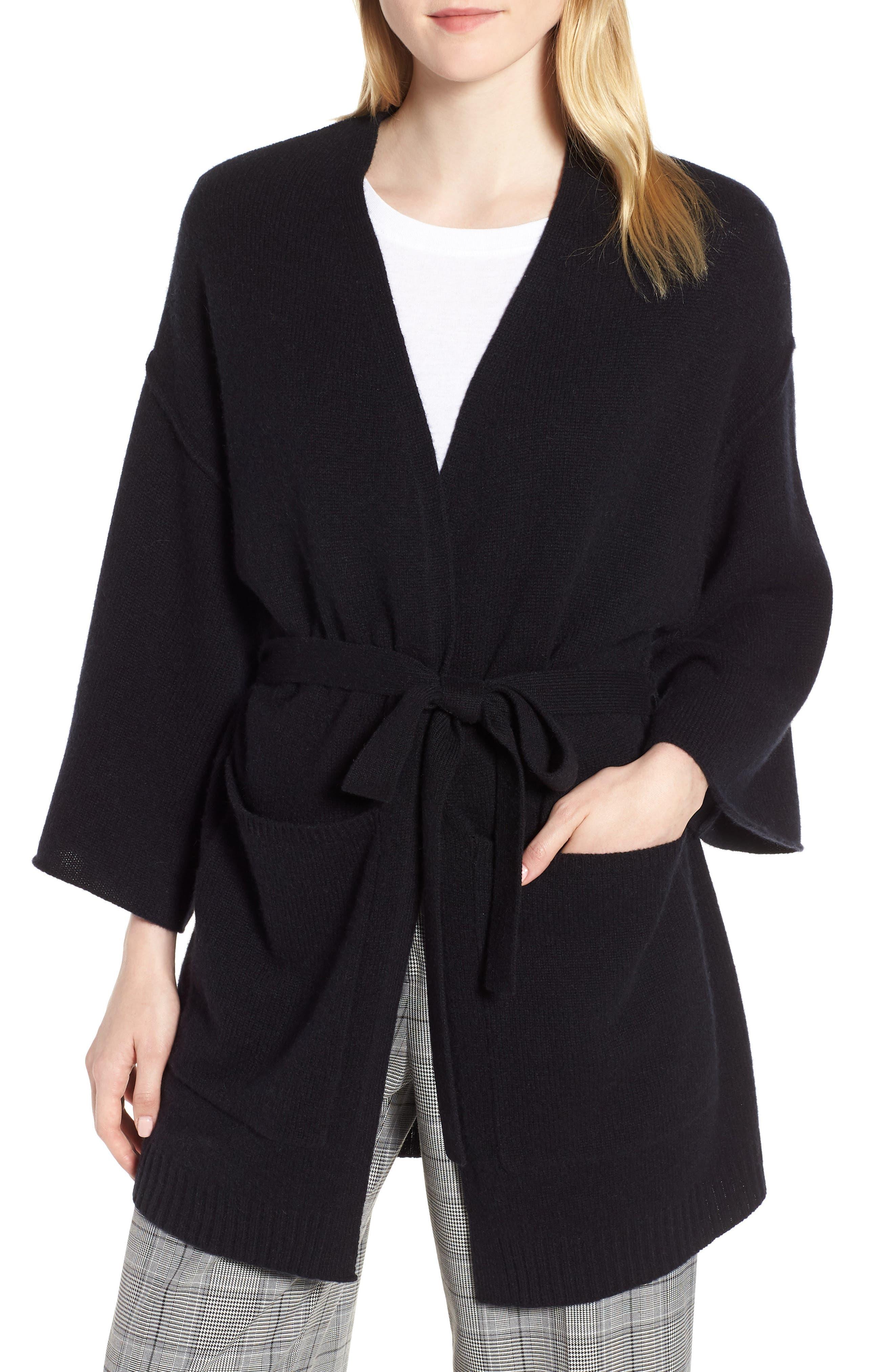 Belted Cashmere Kimono,                             Main thumbnail 1, color,                             001