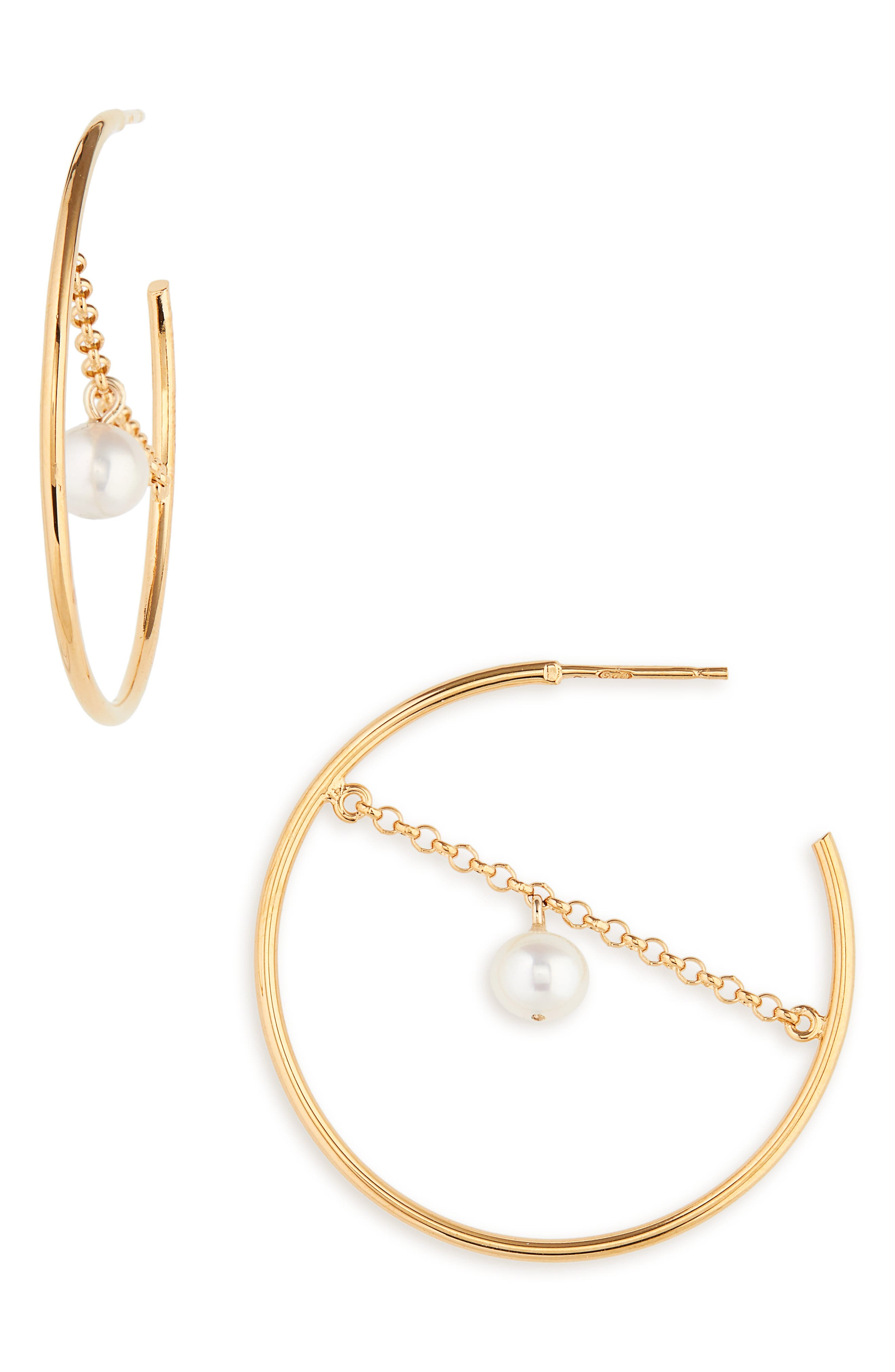 Selene Freshwater Pearl Hoop Earrings,                             Main thumbnail 1, color,                             GOLD PLATED STERLING SILVER