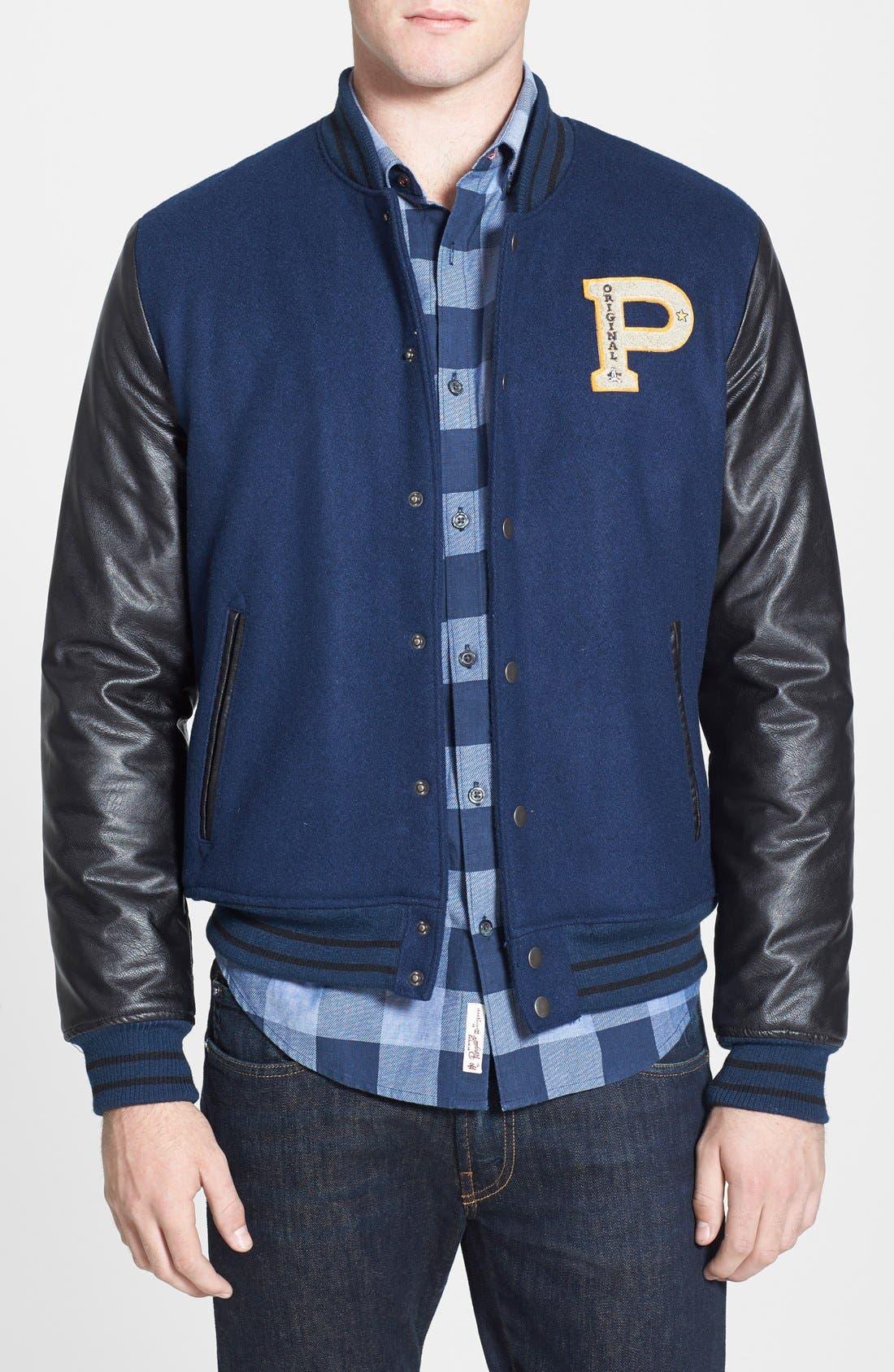 ORIGINAL PENGUIN Vintage Varsity Jacket, Main, color, 411