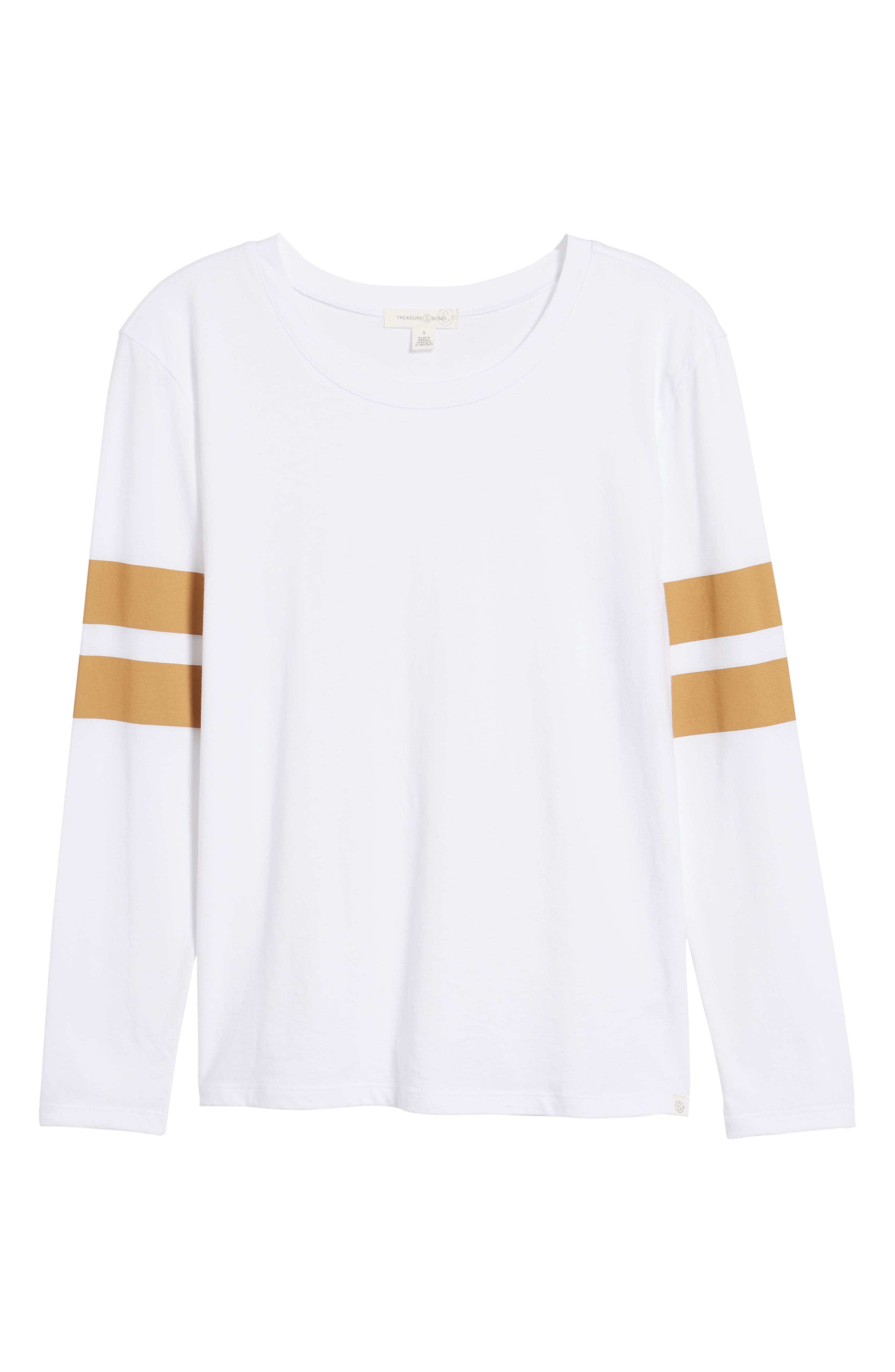 Varsity Stripe Cotton Tee,                             Alternate thumbnail 110, color,