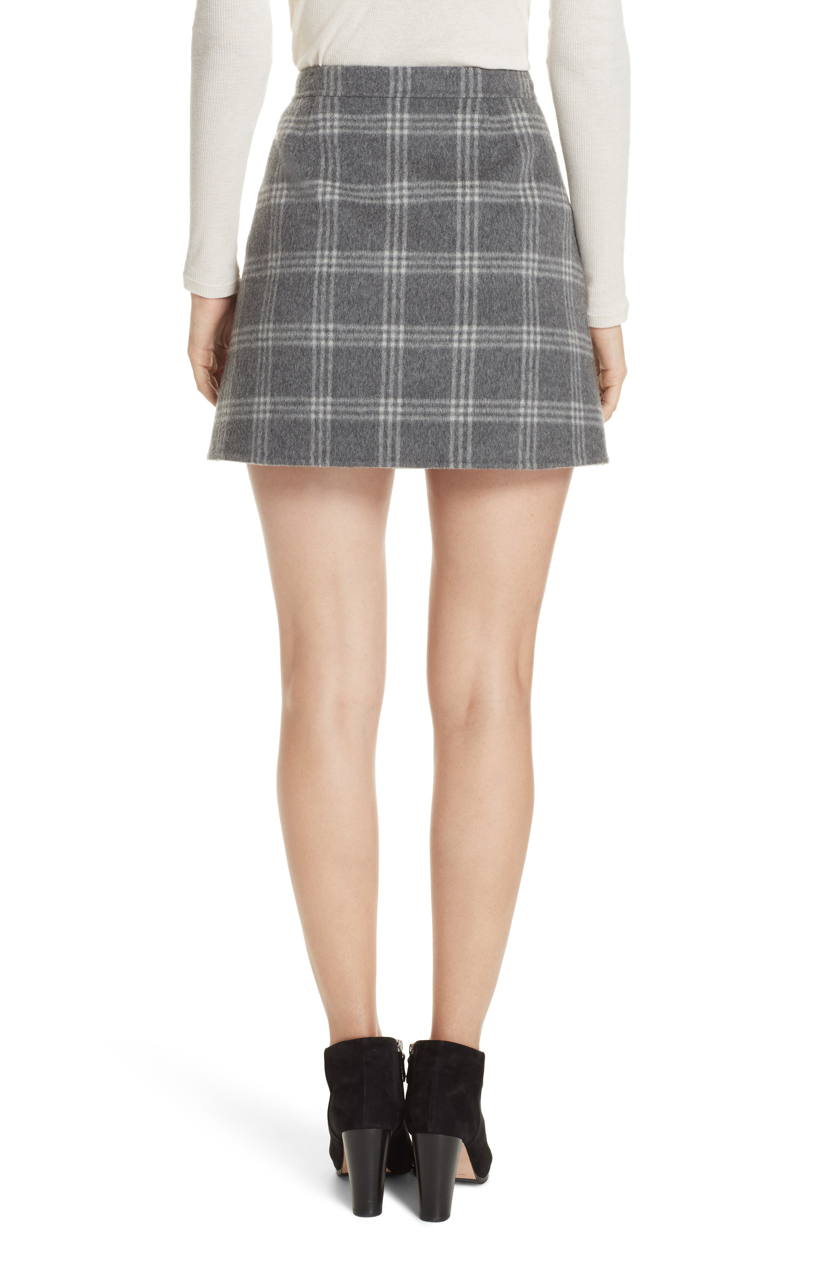 Westport Plaid Wool & Cashmere Miniskirt,                             Alternate thumbnail 2, color,                             022