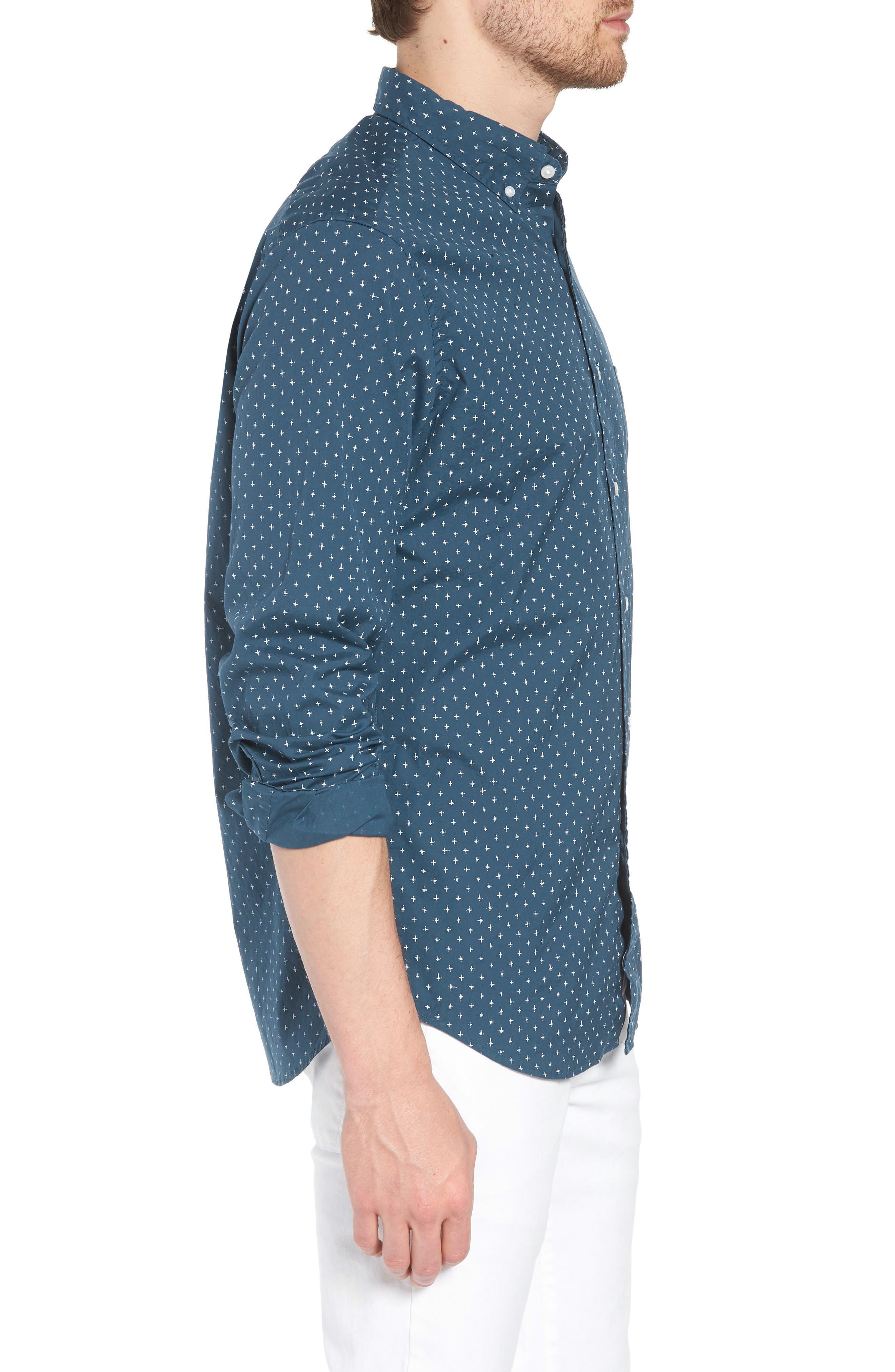 Slim Fit Stretch Secret Wash Crosshatch Print Sport Shirt,                             Alternate thumbnail 3, color,                             CARAVAN BLUE