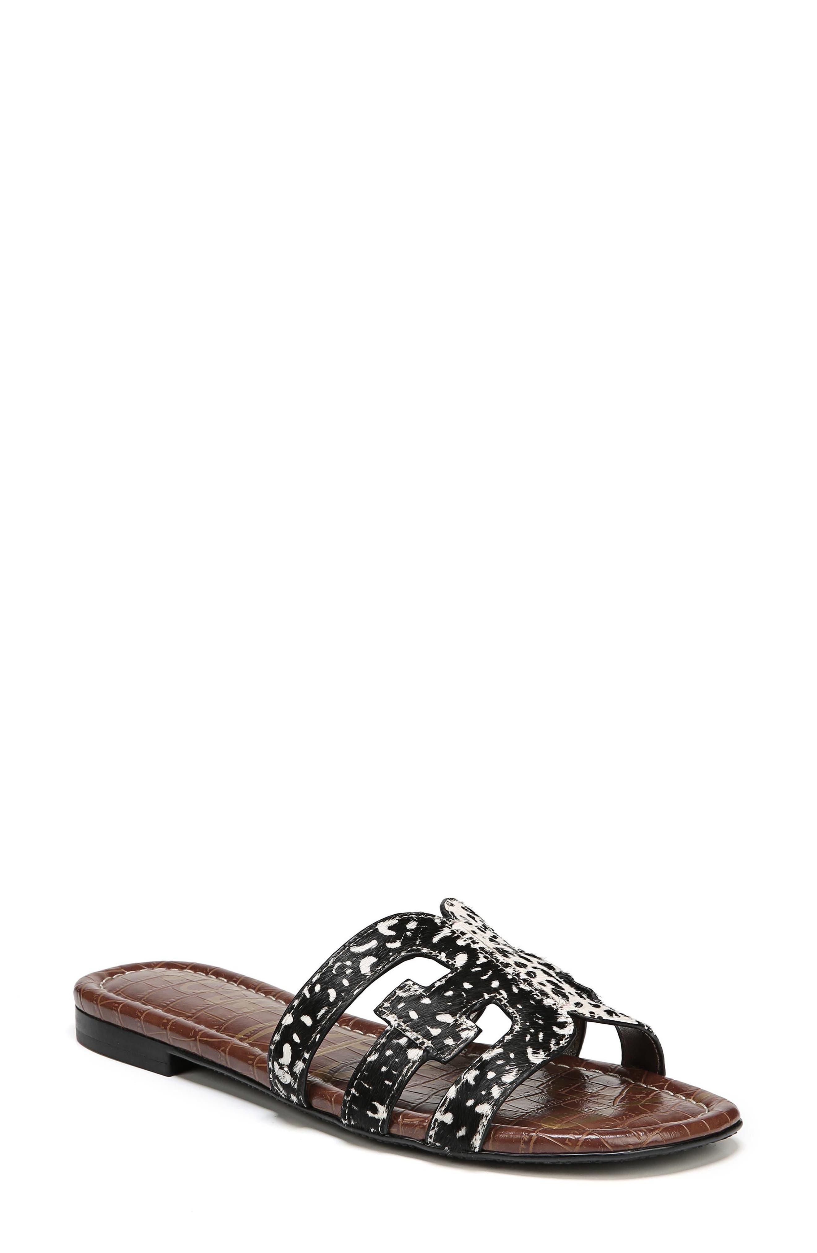 Bay Genuine Calf Hair Slide Sandal,                         Main,                         color, BLACK/ IVORY BRAHMA HAIR