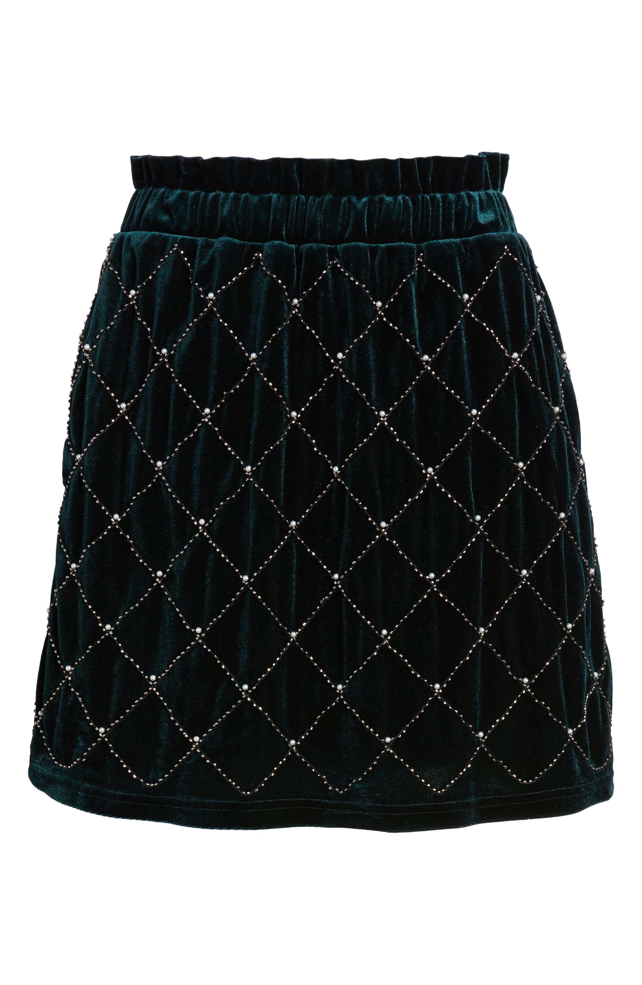 Beaded Velvet Miniskirt,                             Alternate thumbnail 6, color,                             GREEN