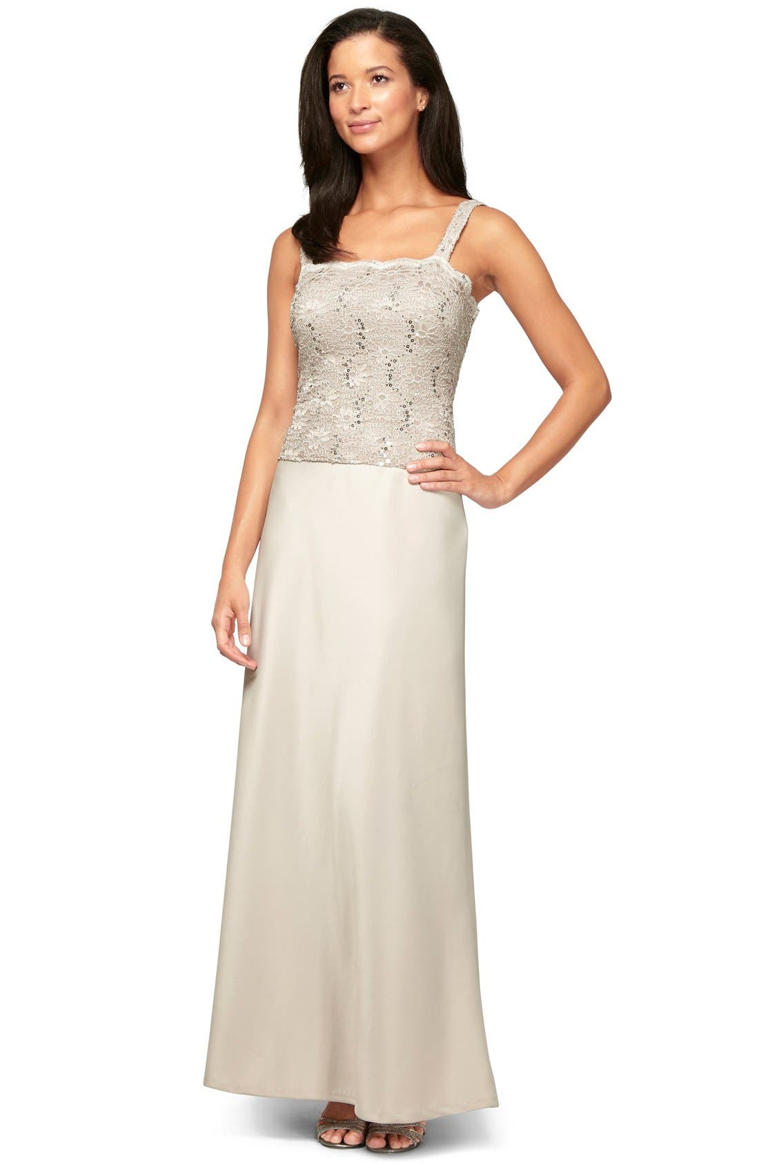 Sequin Lace & Satin Gown with Jacket,                             Alternate thumbnail 7, color,