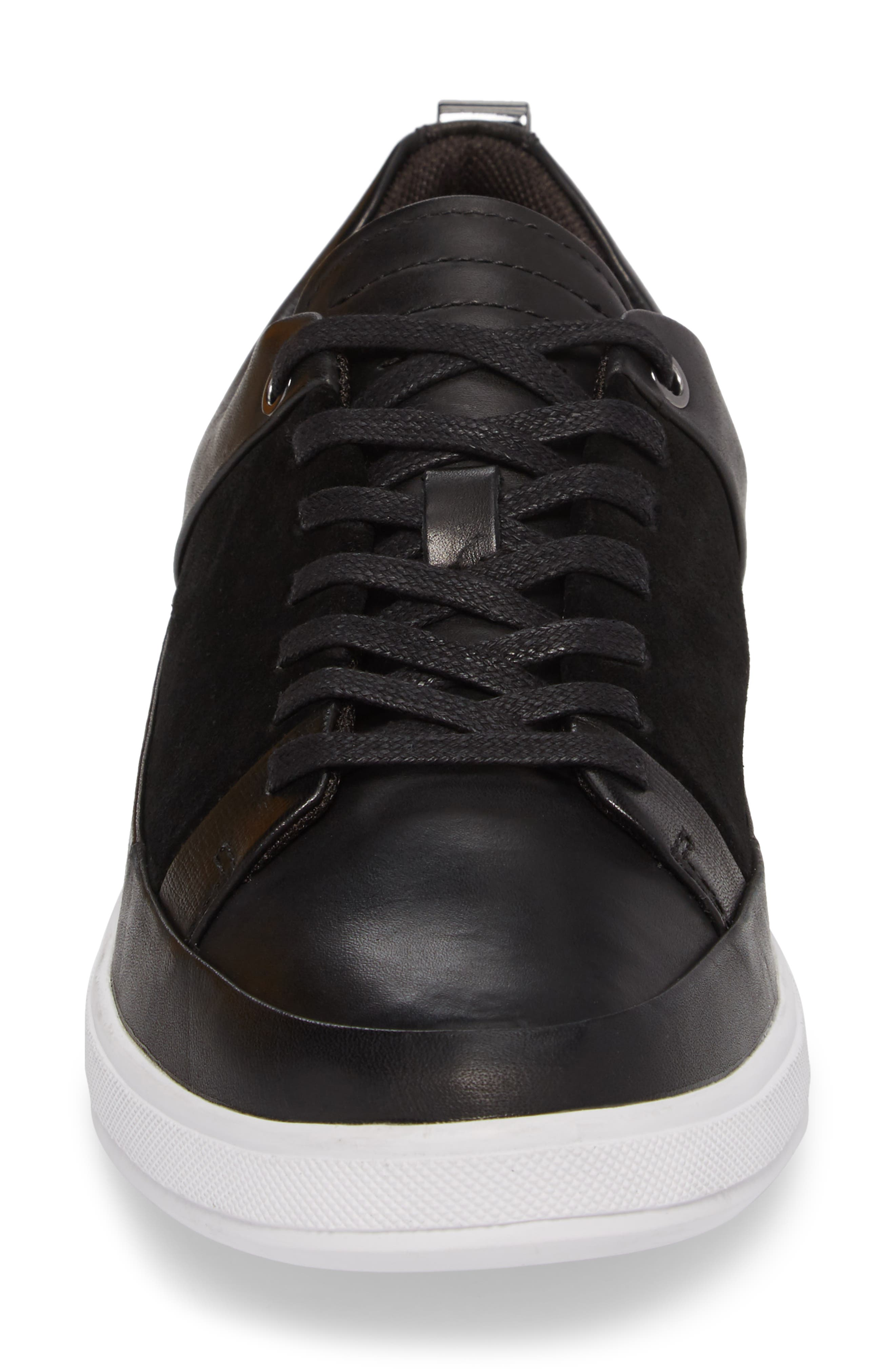 Slick Sneaker,                             Alternate thumbnail 4, color,                             BLACK LEATHER/ SUEDE