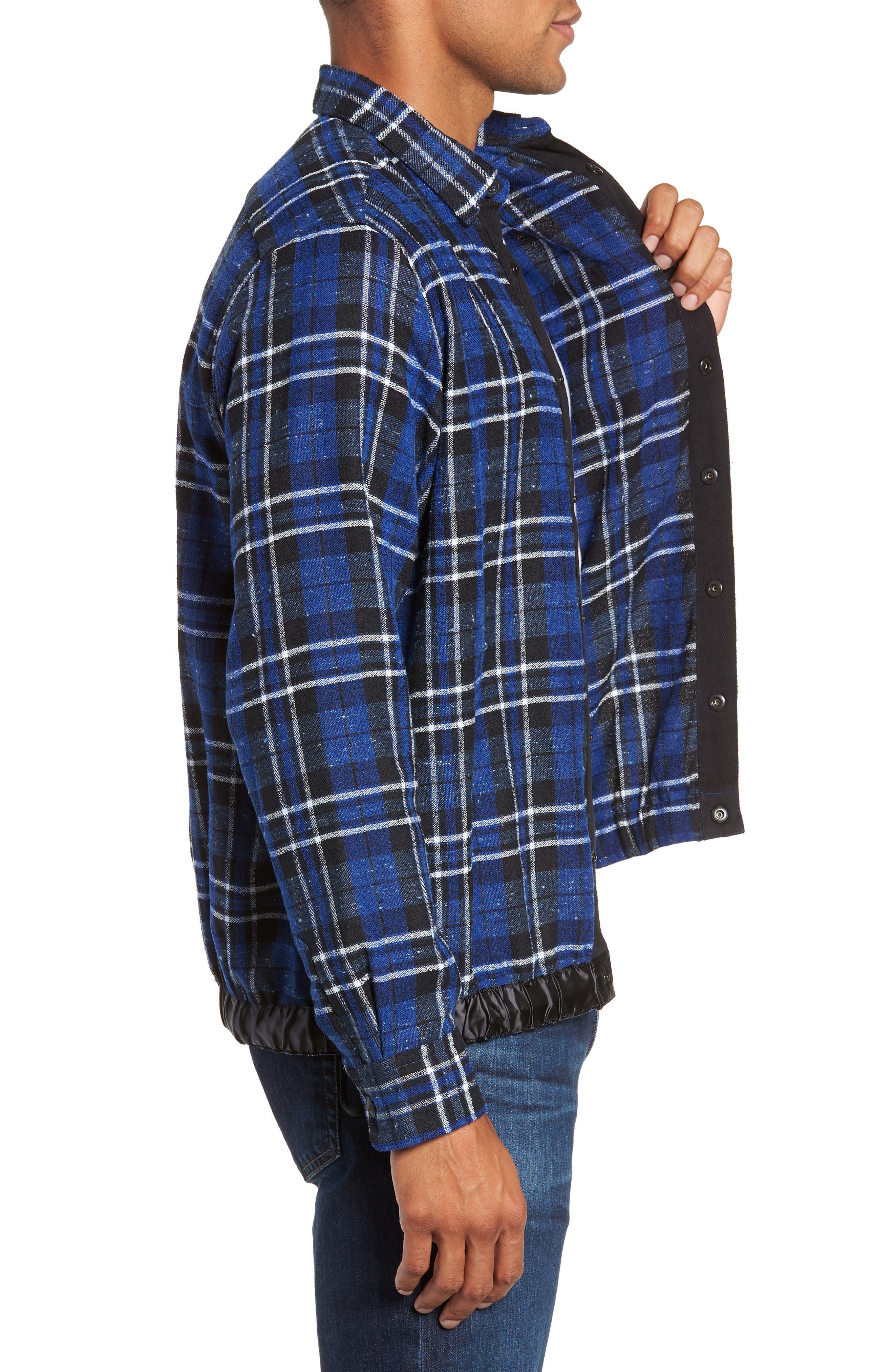Slim Fit Tartan Shirt Jacket,                             Alternate thumbnail 4, color,                             NAVY