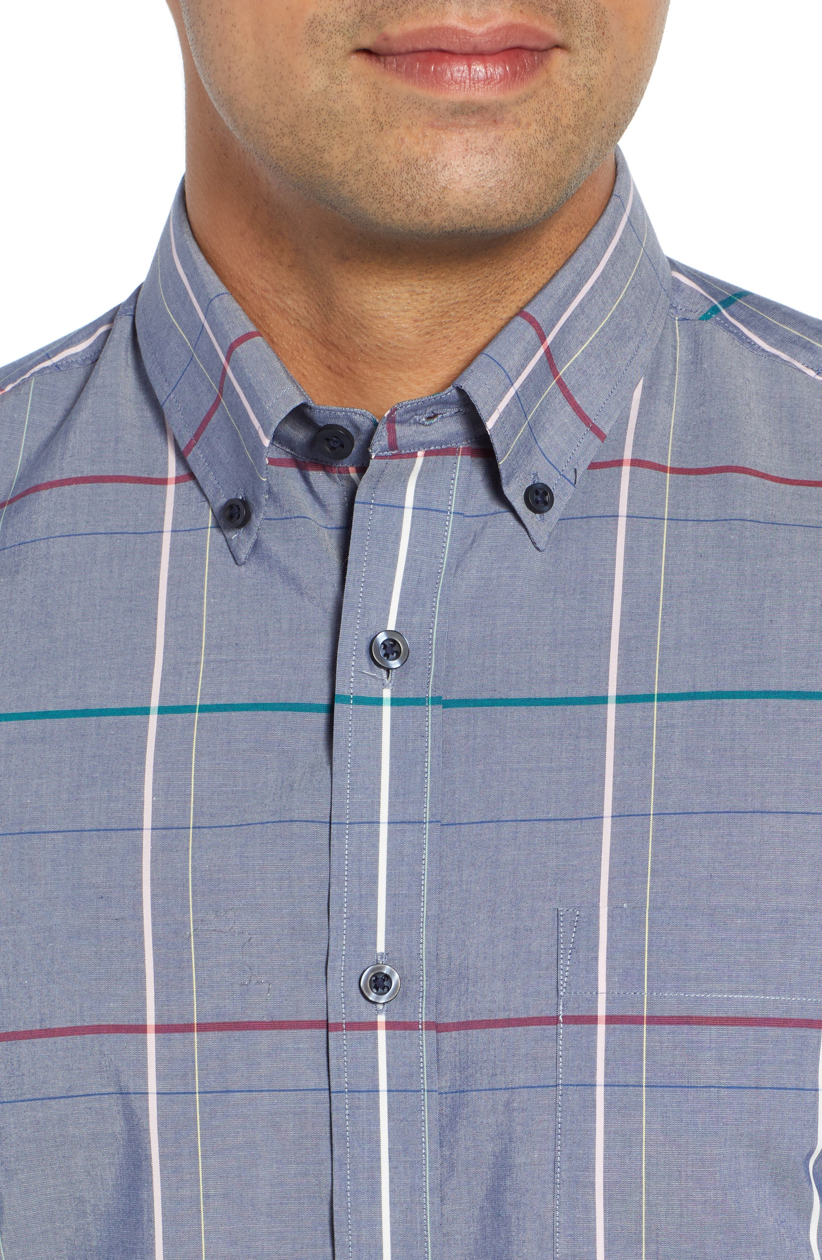 Tech-Smart Slim Fit Multi Pane Sport Shirt,                             Alternate thumbnail 2, color,                             BLUE CHAMBRAY MULTI PANE