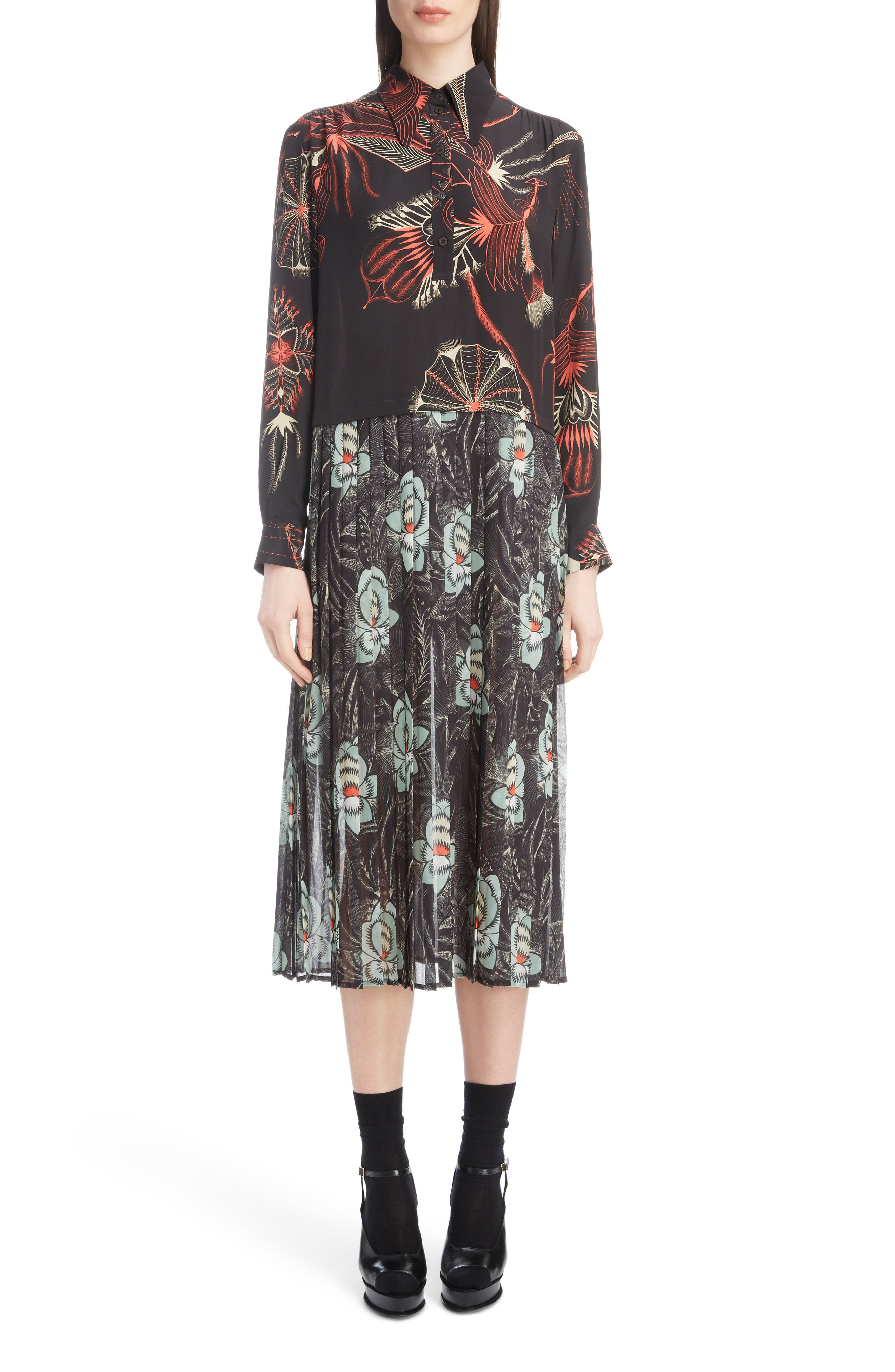 Mixed Print Silk Dress,                         Main,                         color, BLACK