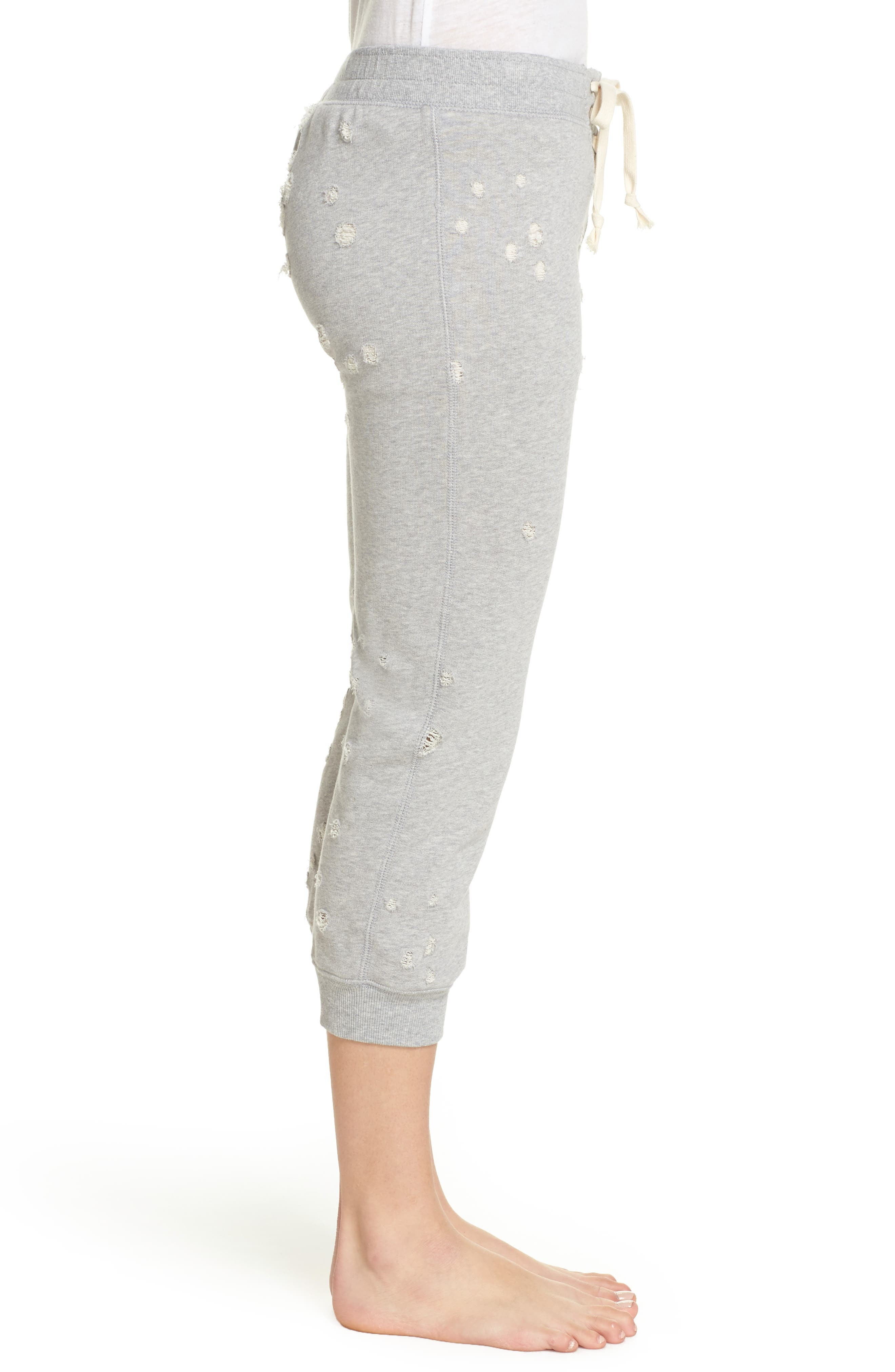 Distressed Crop Lounge Pants,                             Alternate thumbnail 3, color,                             HEATHER GREY