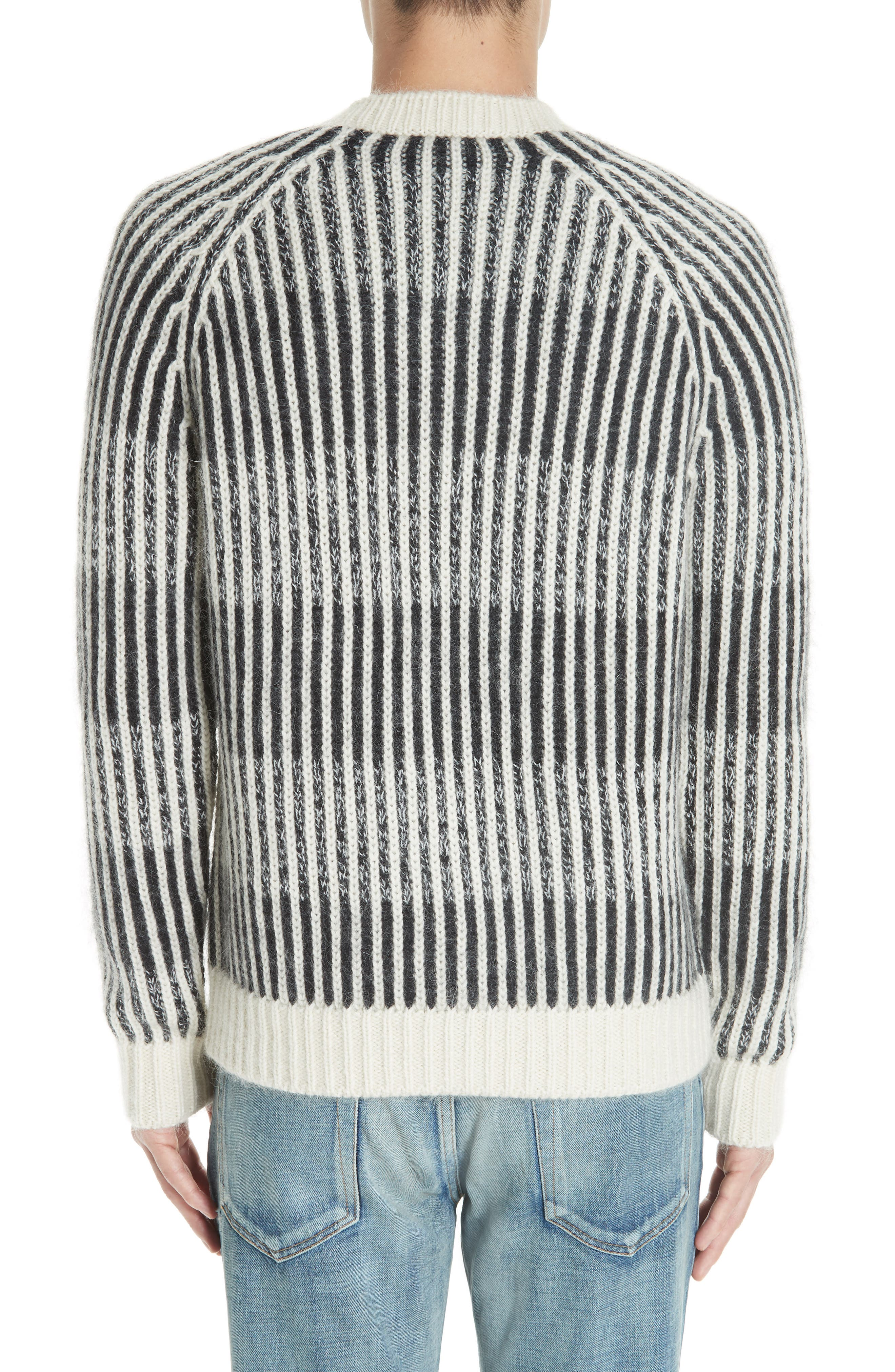 SAINT LAURENT,                             Contrast Rib Wool & Alpaca Blend Sweater,                             Alternate thumbnail 2, color,                             134