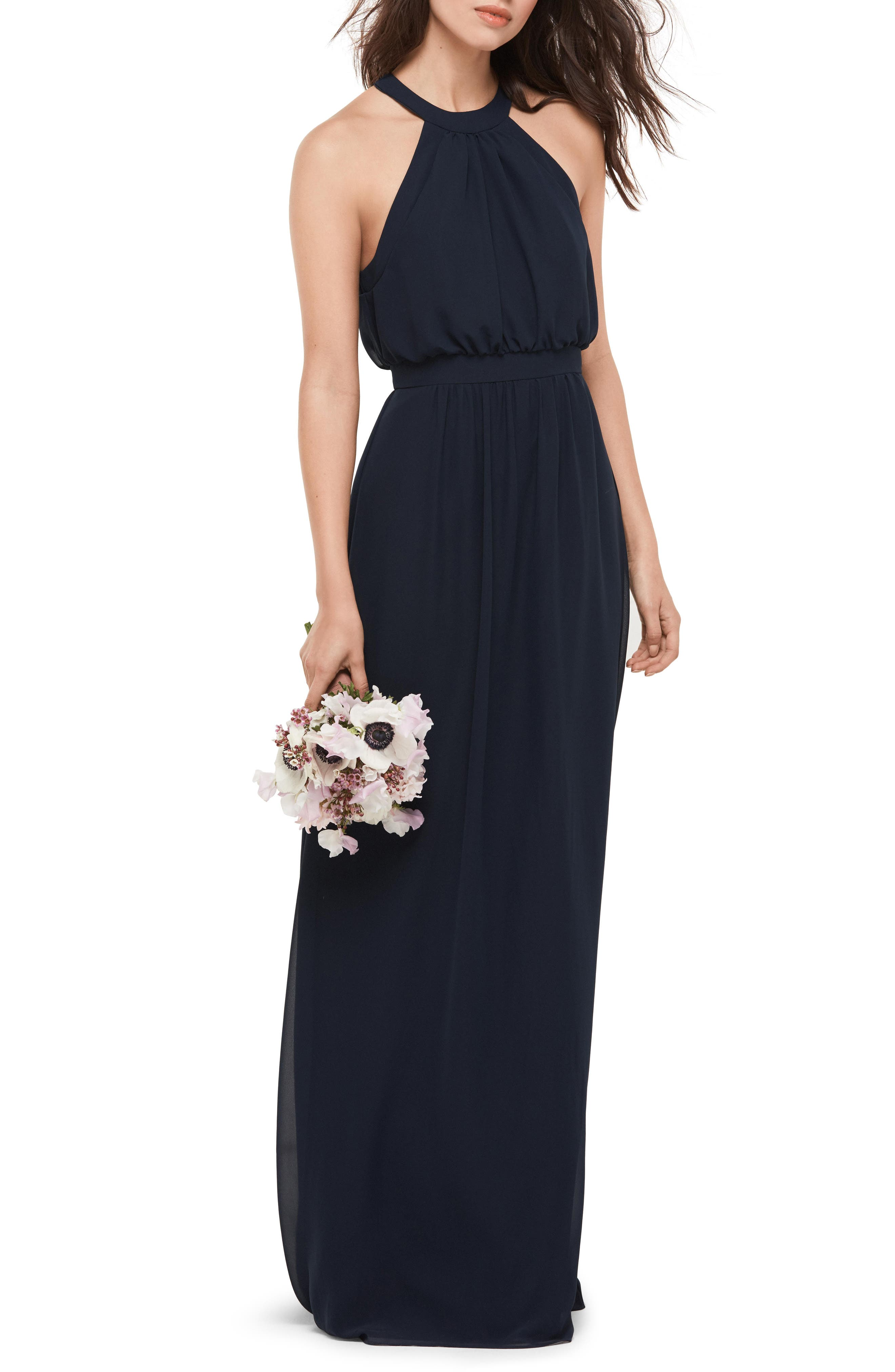 Blouson Chiffon Gown,                         Main,                         color, 410