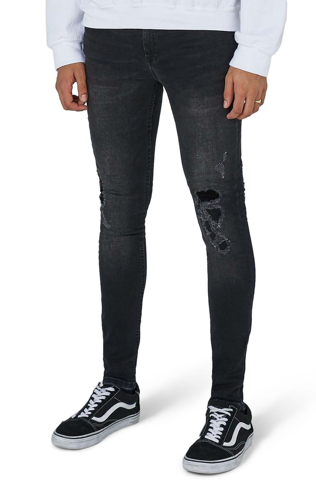 Repair Spray-On Skinny Fit Jeans,                             Main thumbnail 1, color,                             001