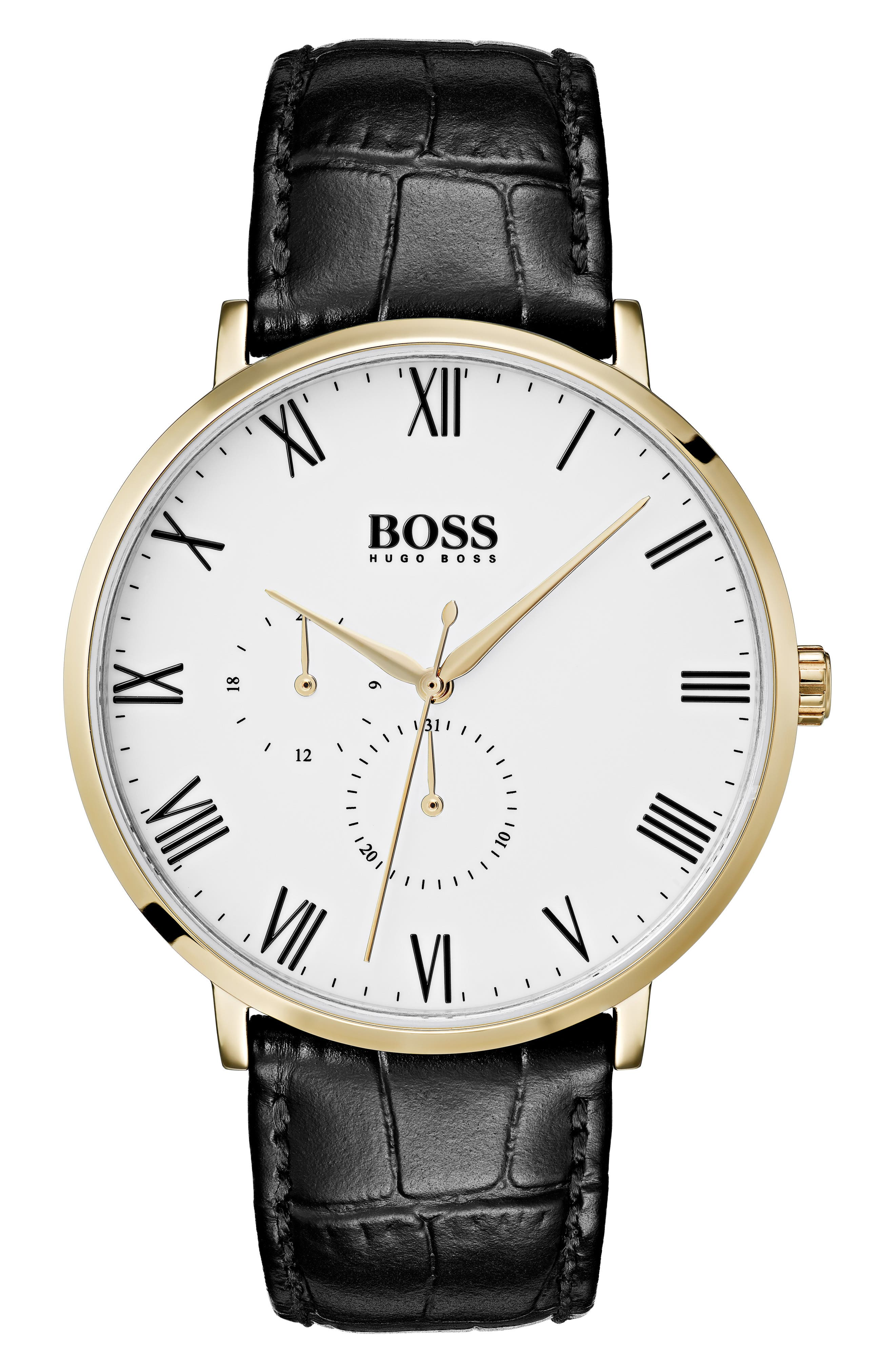 William Leather Strap Watch, 40mm,                         Main,                         color, WHITE