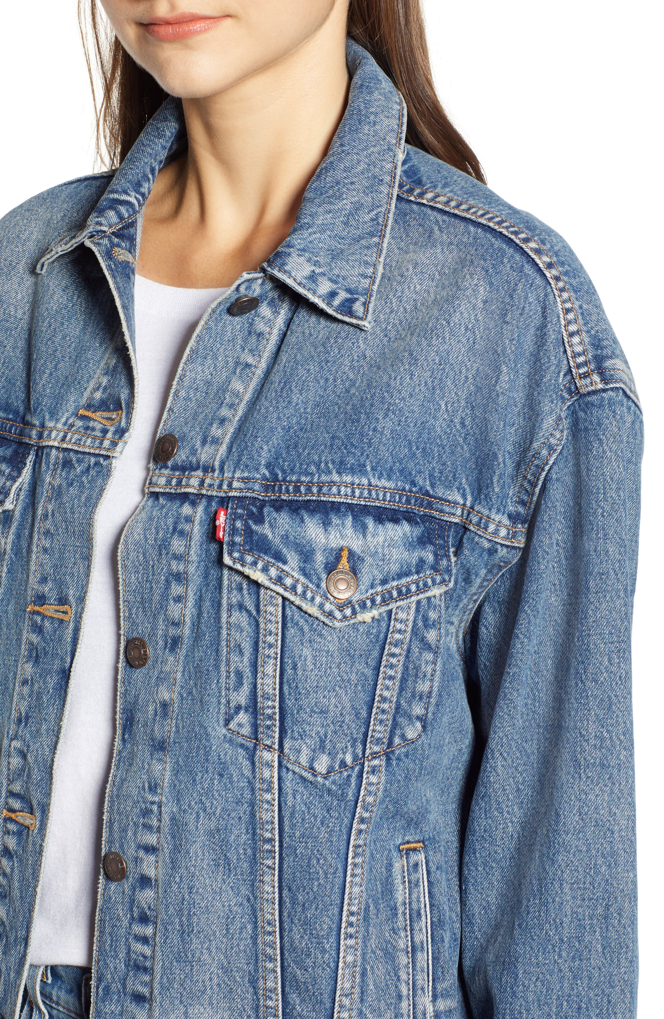 Baggy Trucker Denim Jacket,                             Alternate thumbnail 4, color,                             BUST A MOVE