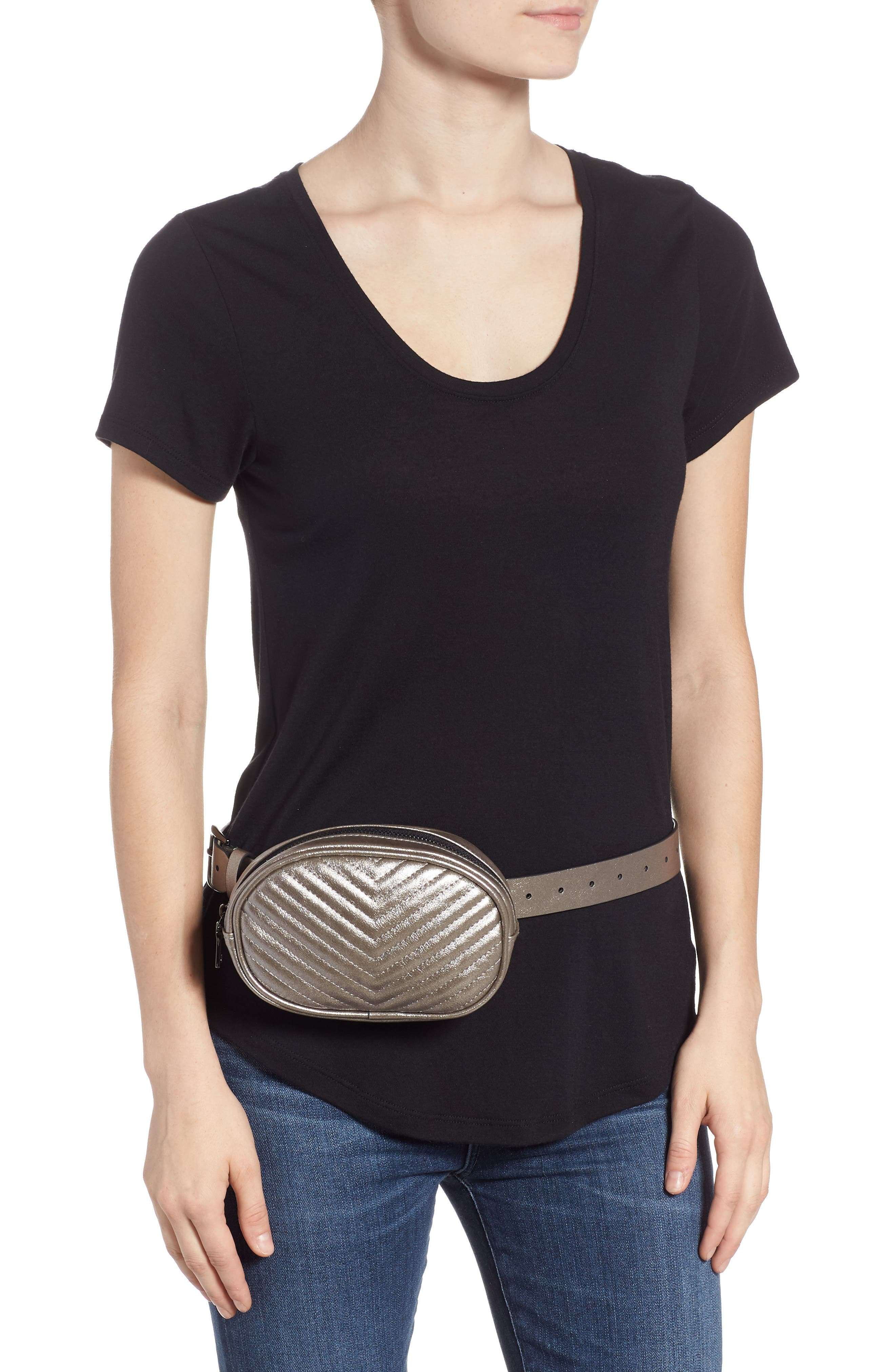 Chevron Quilted Metallic Faux Leather Belt Bag,                             Alternate thumbnail 2, color,                             PEWTER