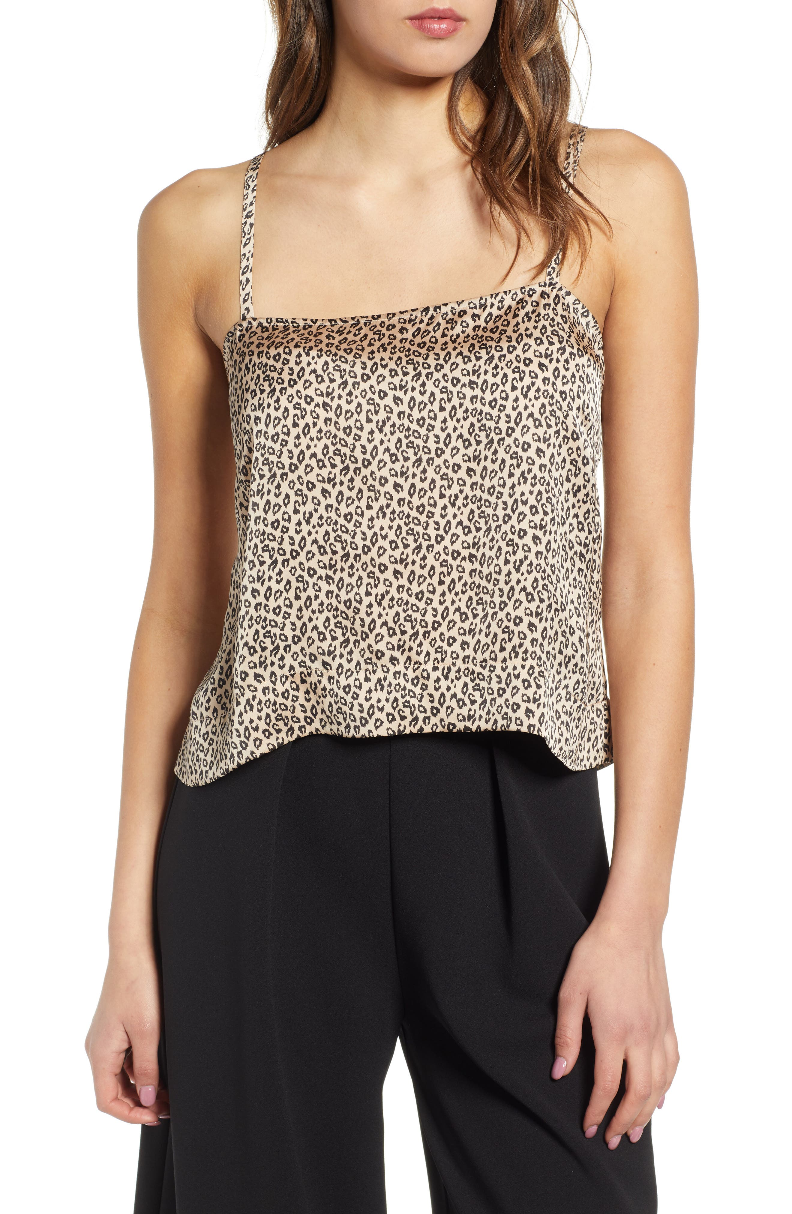 Leith Fluid Strappy Satin Camisole, Brown