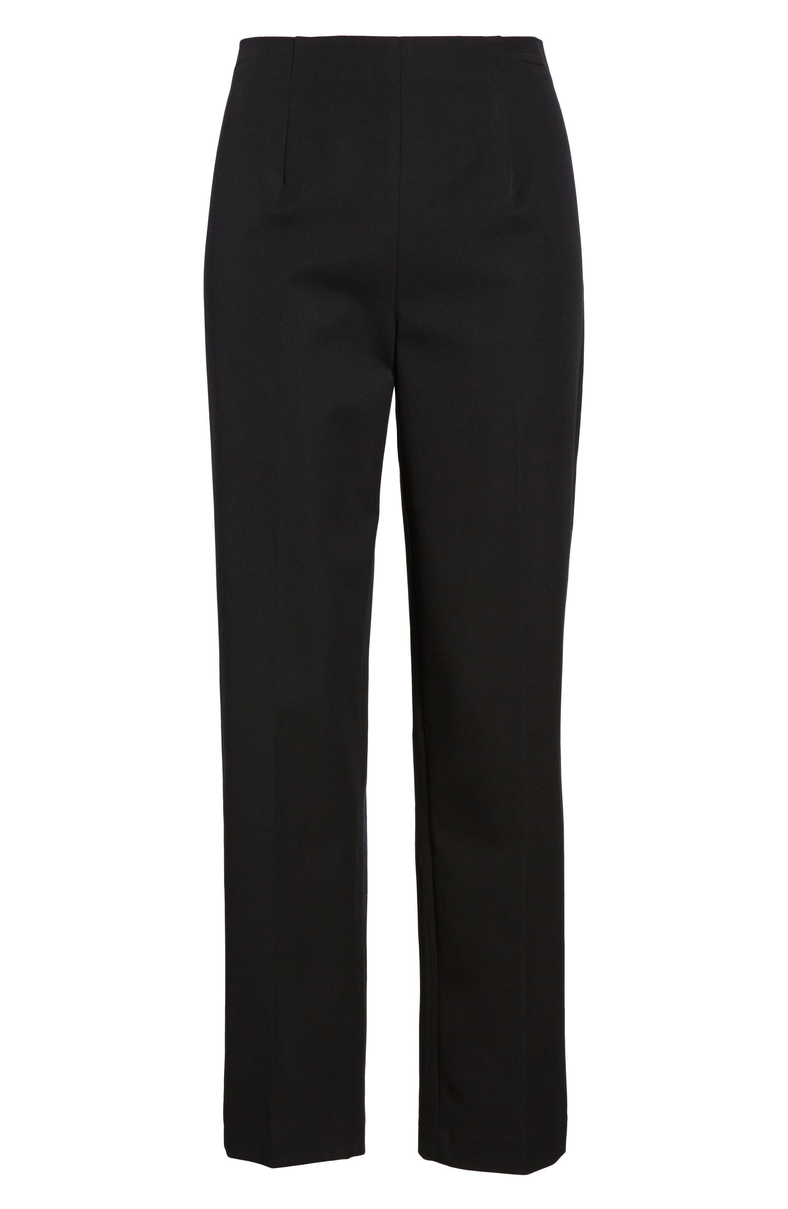 Woven Slim Ankle Pants,                             Alternate thumbnail 7, color,                             BLACK