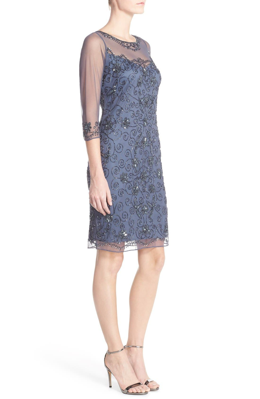 Beaded Mesh Sheath Dress,                             Alternate thumbnail 17, color,