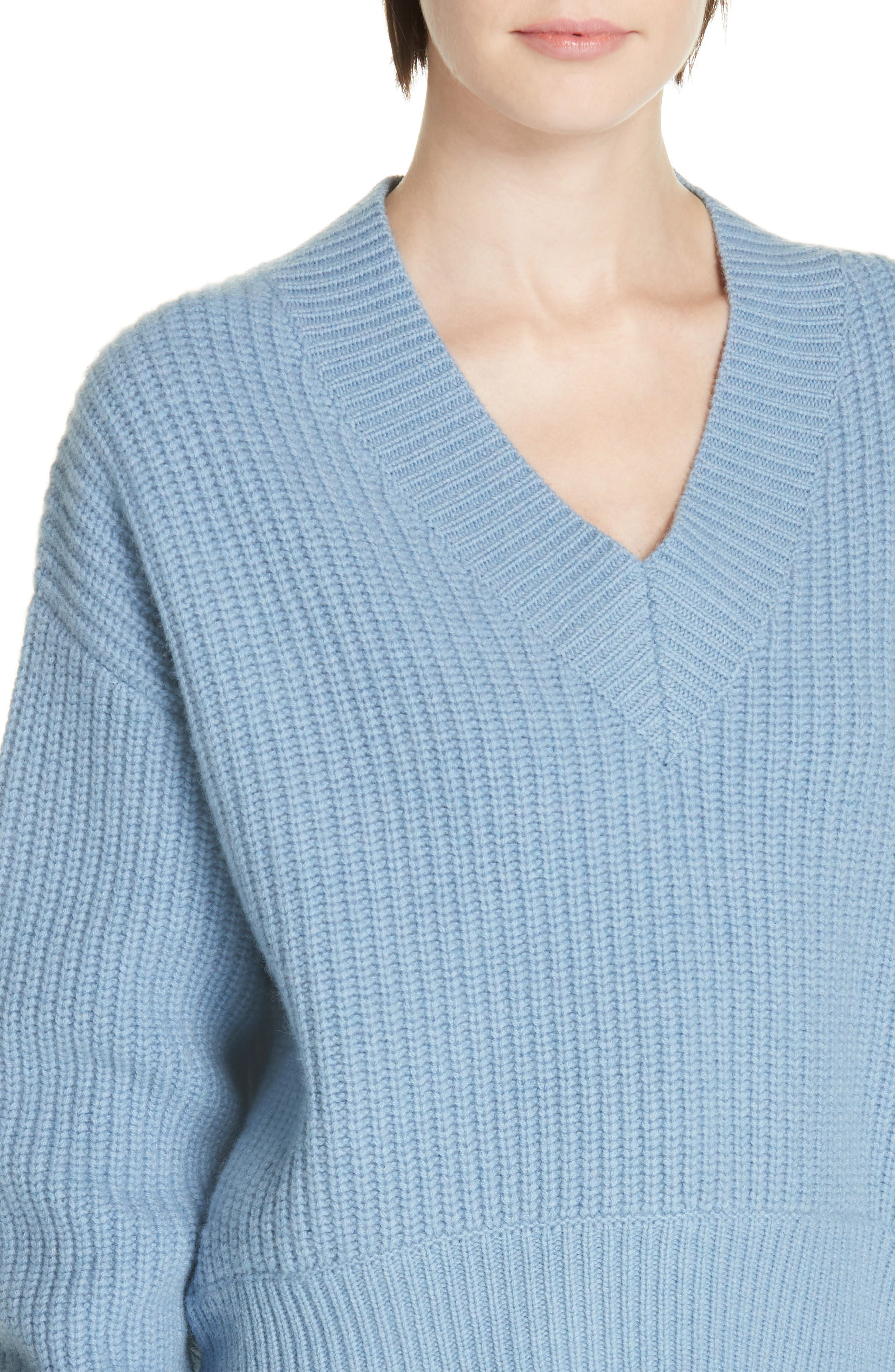V-Neck Wool & Cashmere Sweater,                             Alternate thumbnail 4, color,                             BLUE COLONY