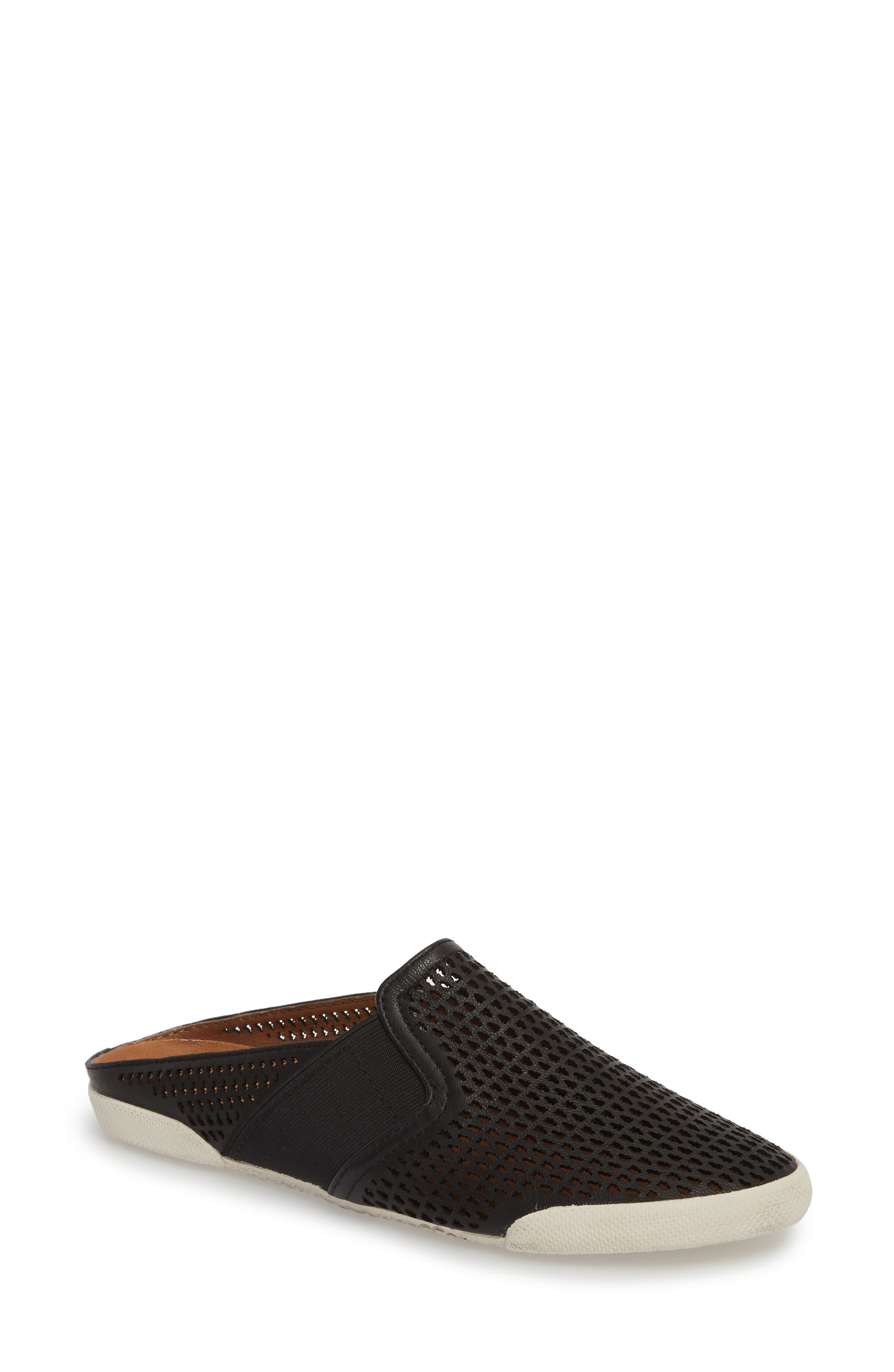 Melanie Perforated Mule,                         Main,                         color, BLACK LEATHER